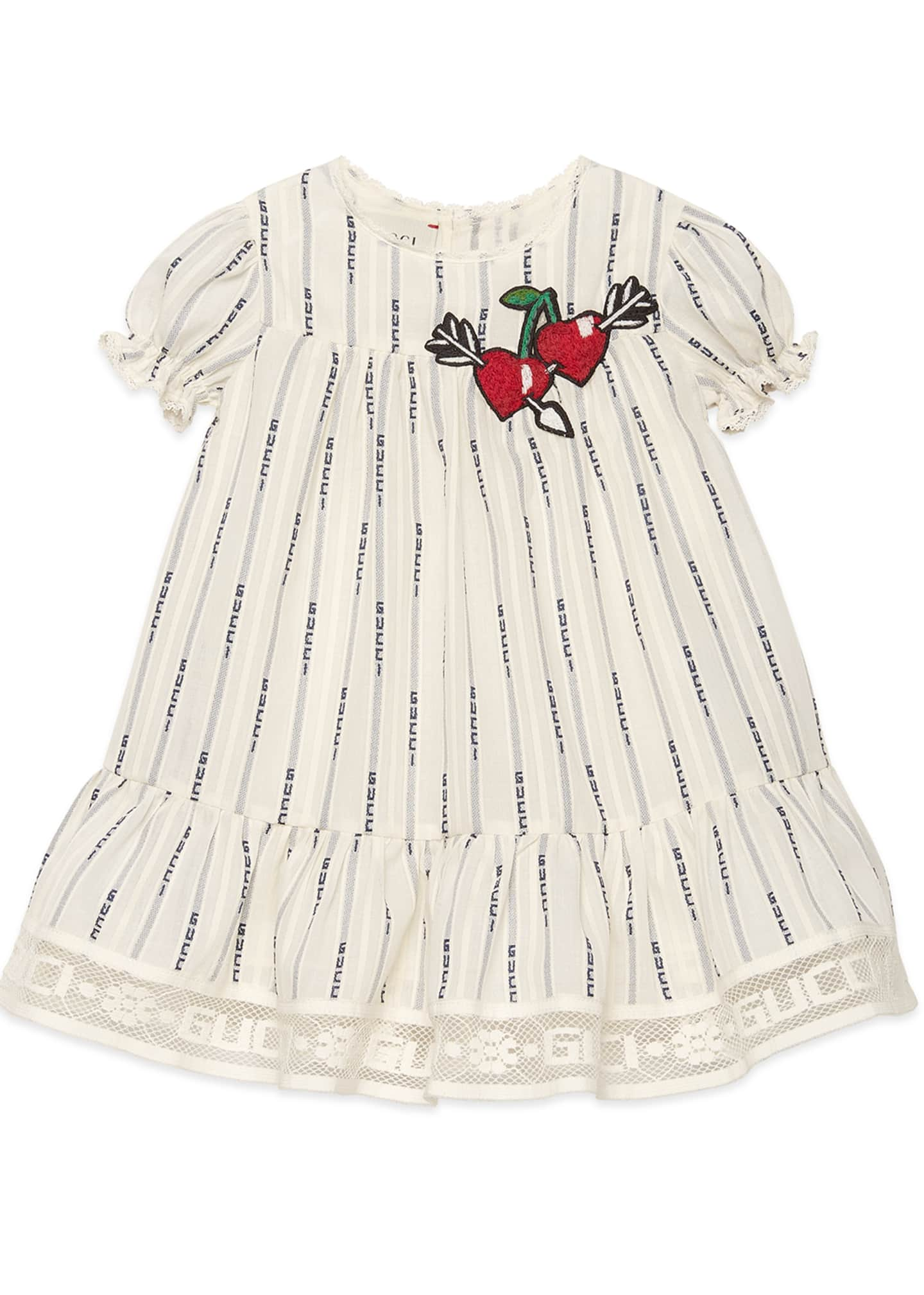 Gucci Logo Jacquard Puffy-Sleeve Dress w/ Cherries Embroidery,