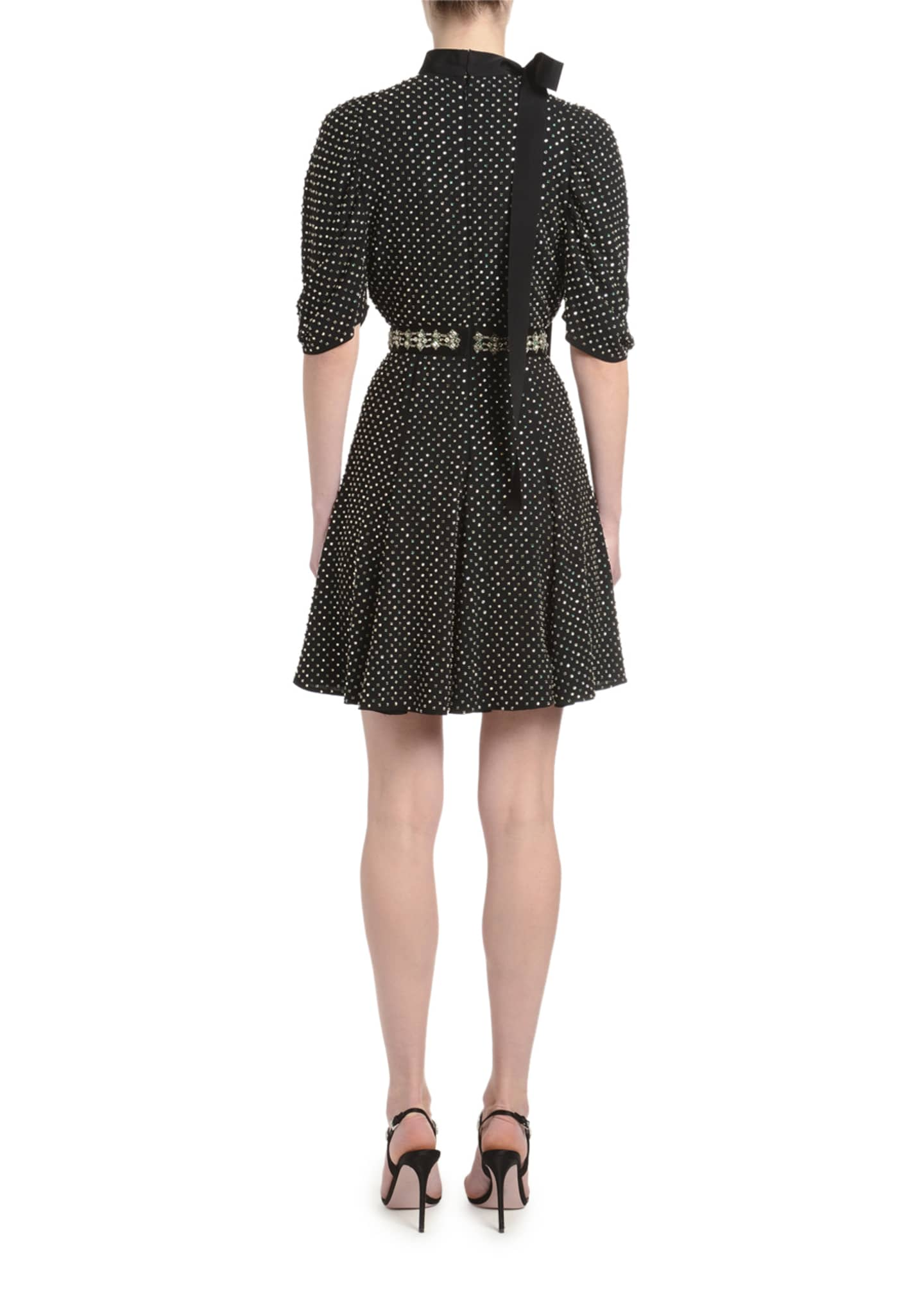 Image 2 of 2: Jewel-Neck Blouson-Sleeve Dress