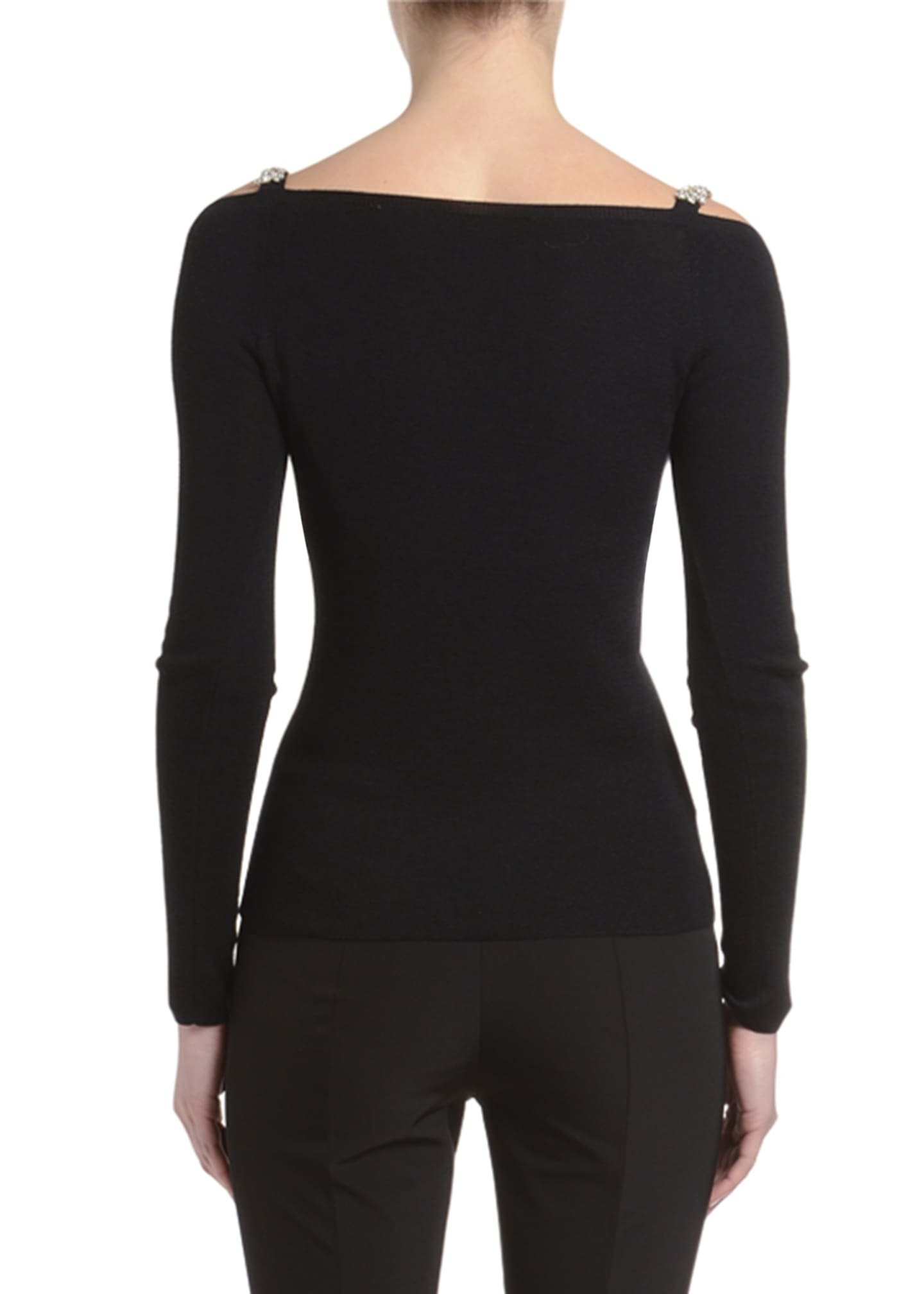 Image 2 of 2: Cashmere-Silk Jewel-Strapped Cold Shoulder Sweater