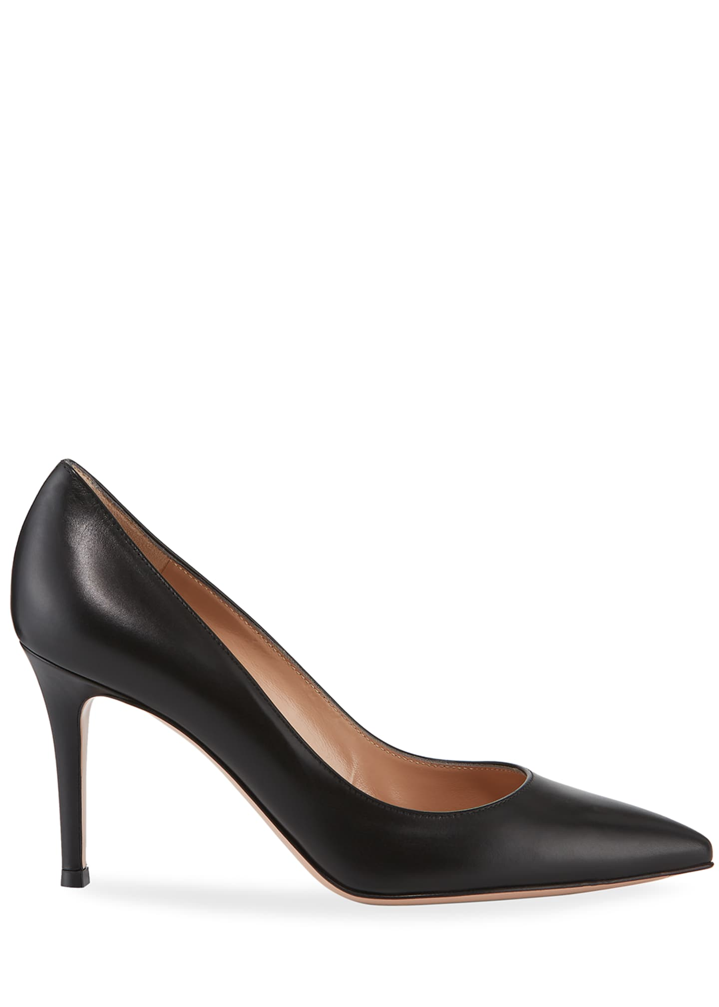 Image 2 of 3: Gianvito 85 Vitello Leather Point-Toe Pumps