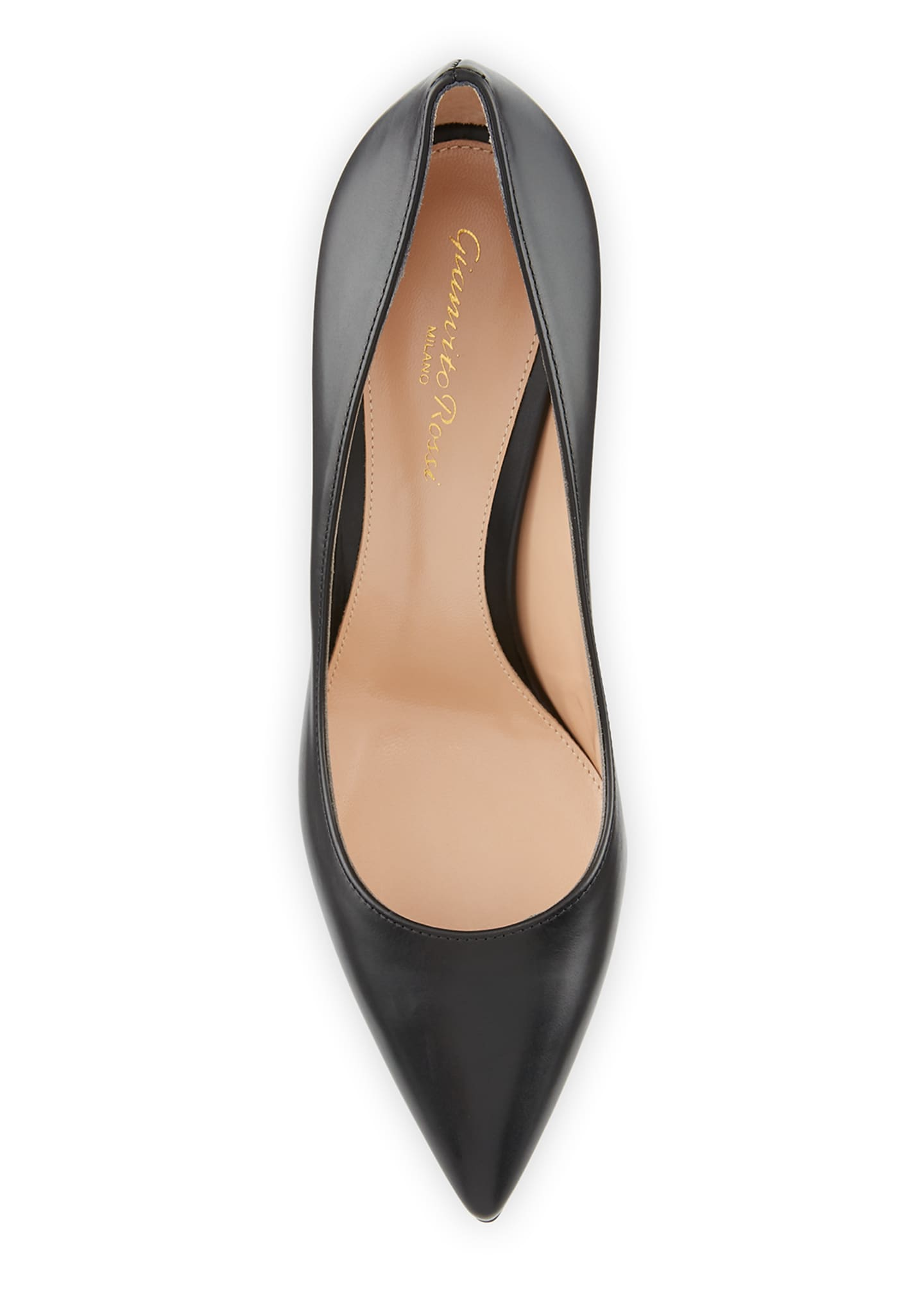 Image 3 of 3: Gianvito 85 Vitello Leather Point-Toe Pumps