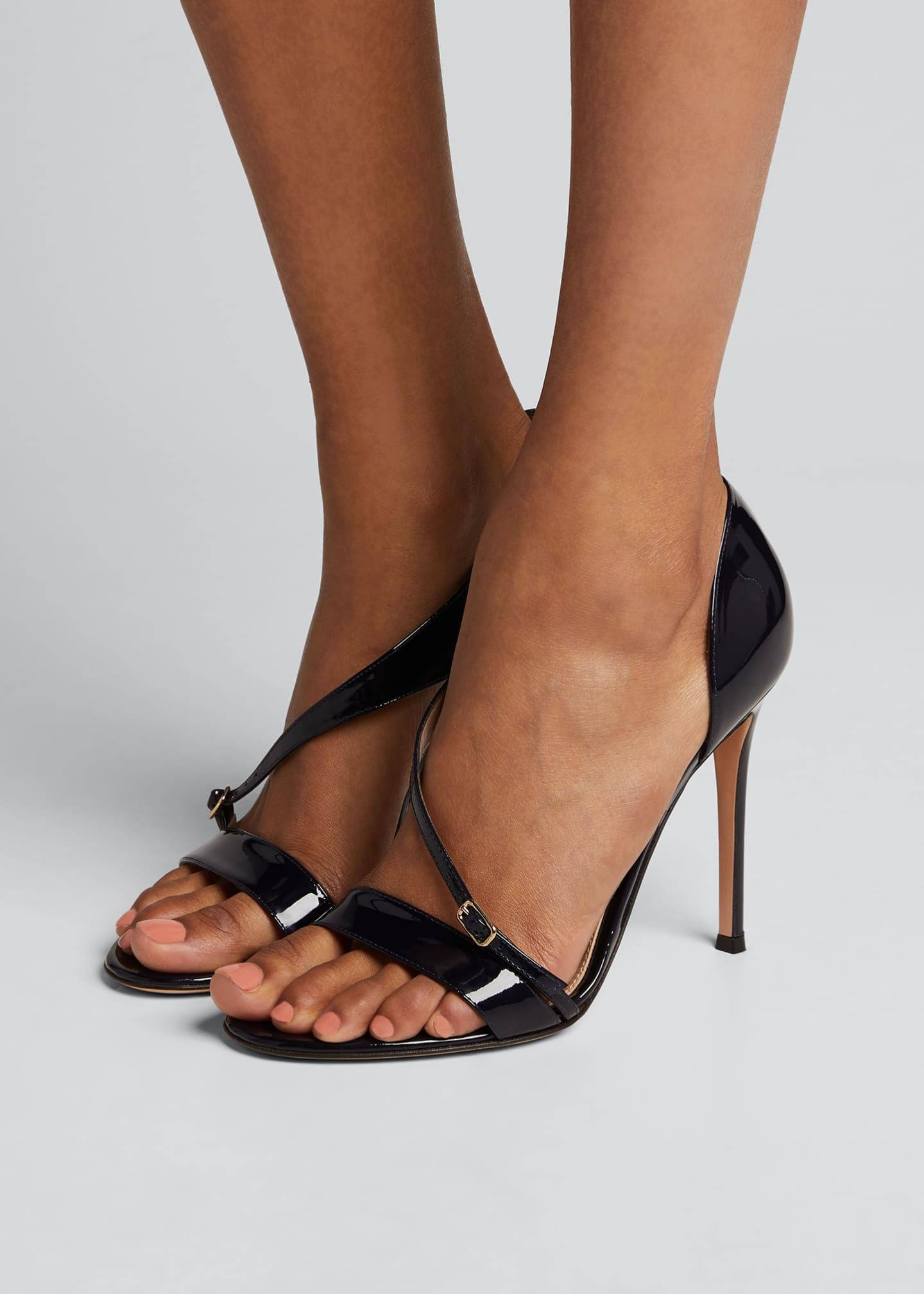 Image 2 of 5: Patent Cross-Strap Sandals, Navy