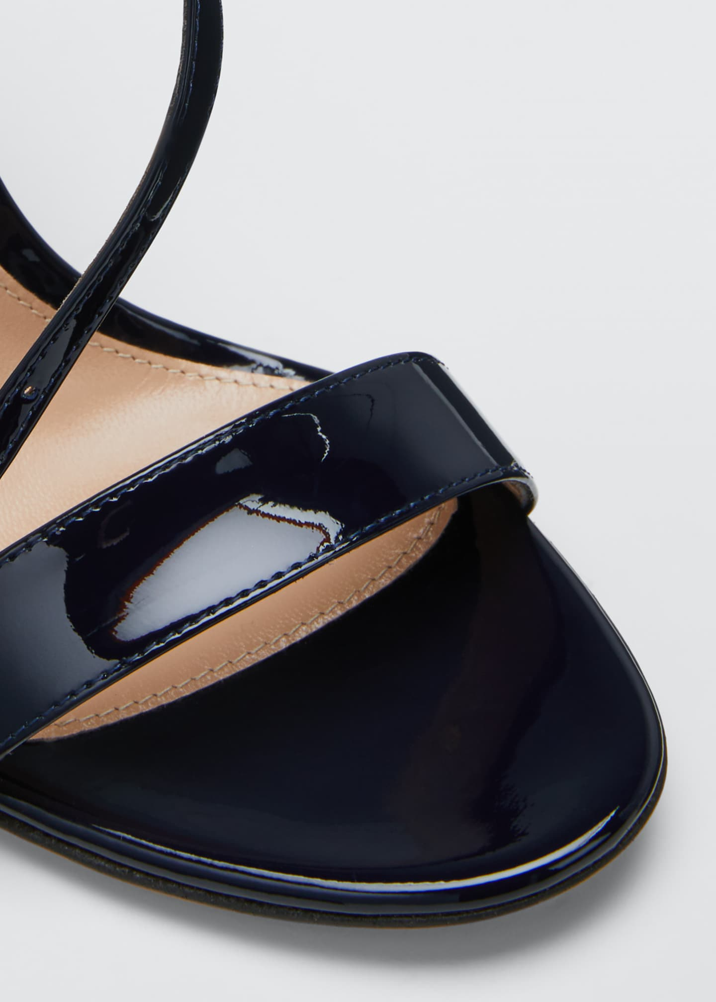 Image 5 of 5: Patent Cross-Strap Sandals, Navy