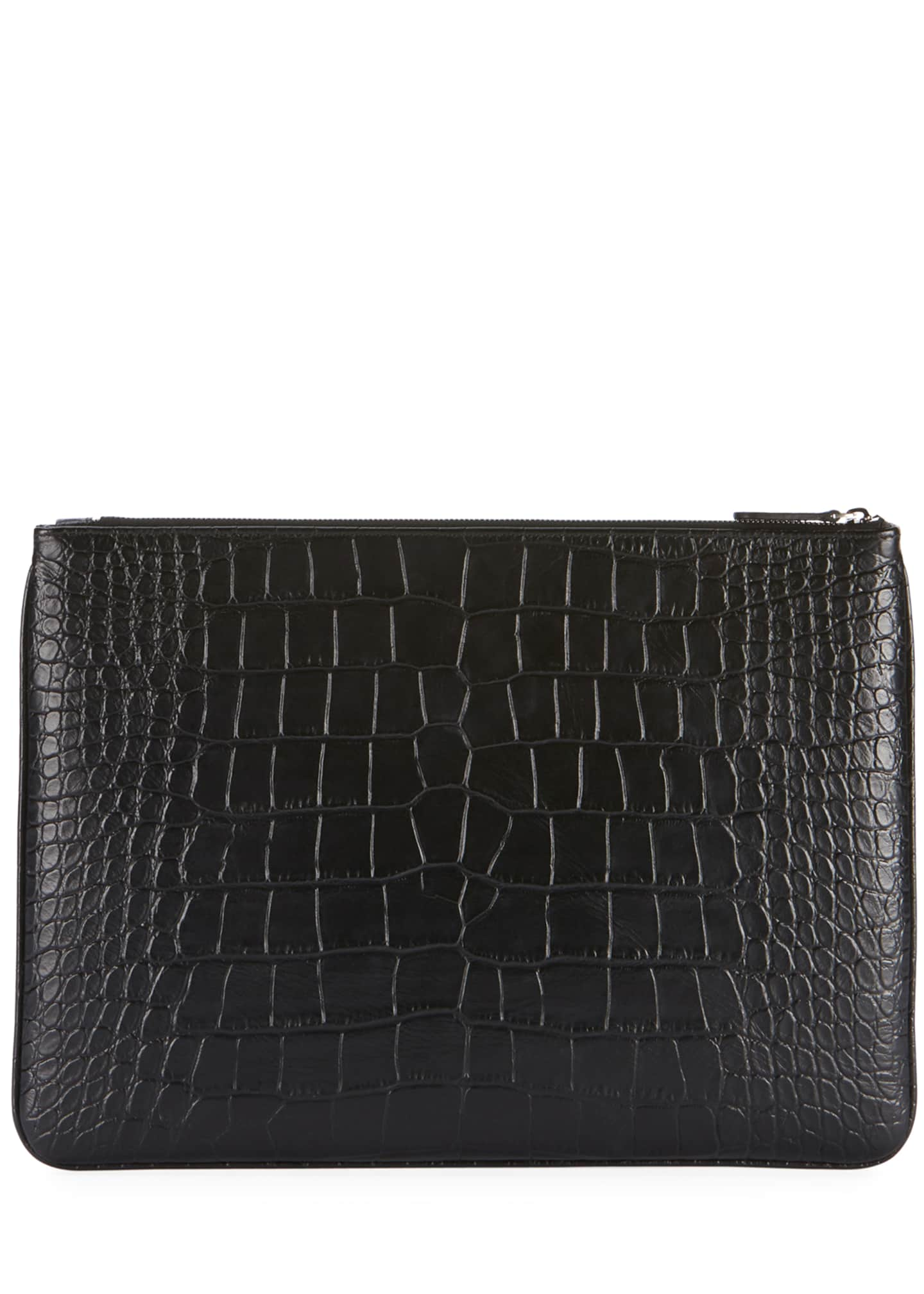Image 2 of 2: Men's Ville Croc-Embossed Leather Pouch Bag