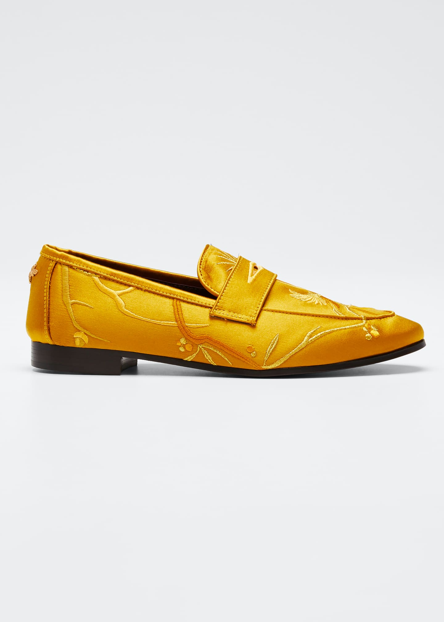 Bougeotte Embroidered Bullfinch Satin Loafers