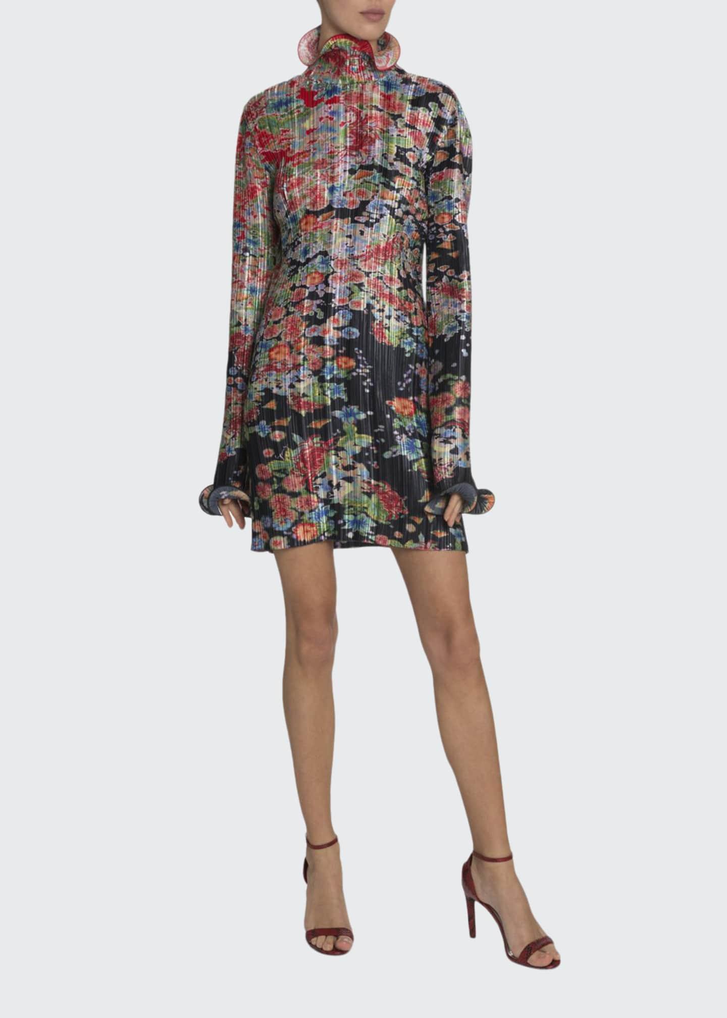 Givenchy Metallic Floral Plisse Dress
