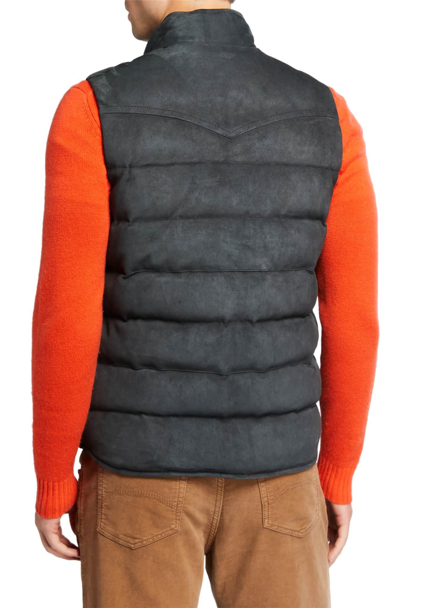 Image 3 of 3: Men's Water-Repellant Suede Padded Vest