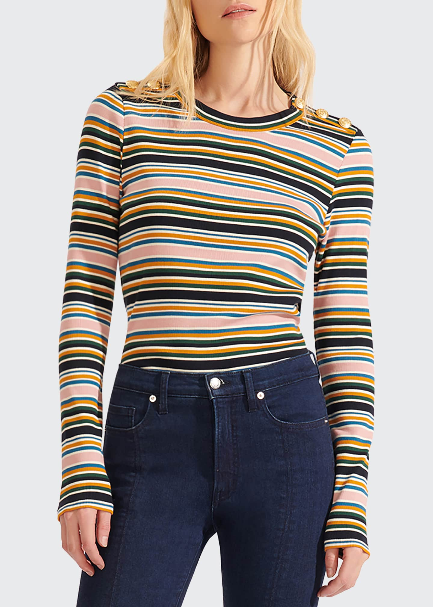Image 3 of 4: Mayer Striped Long-Sleeve Top with Buttons