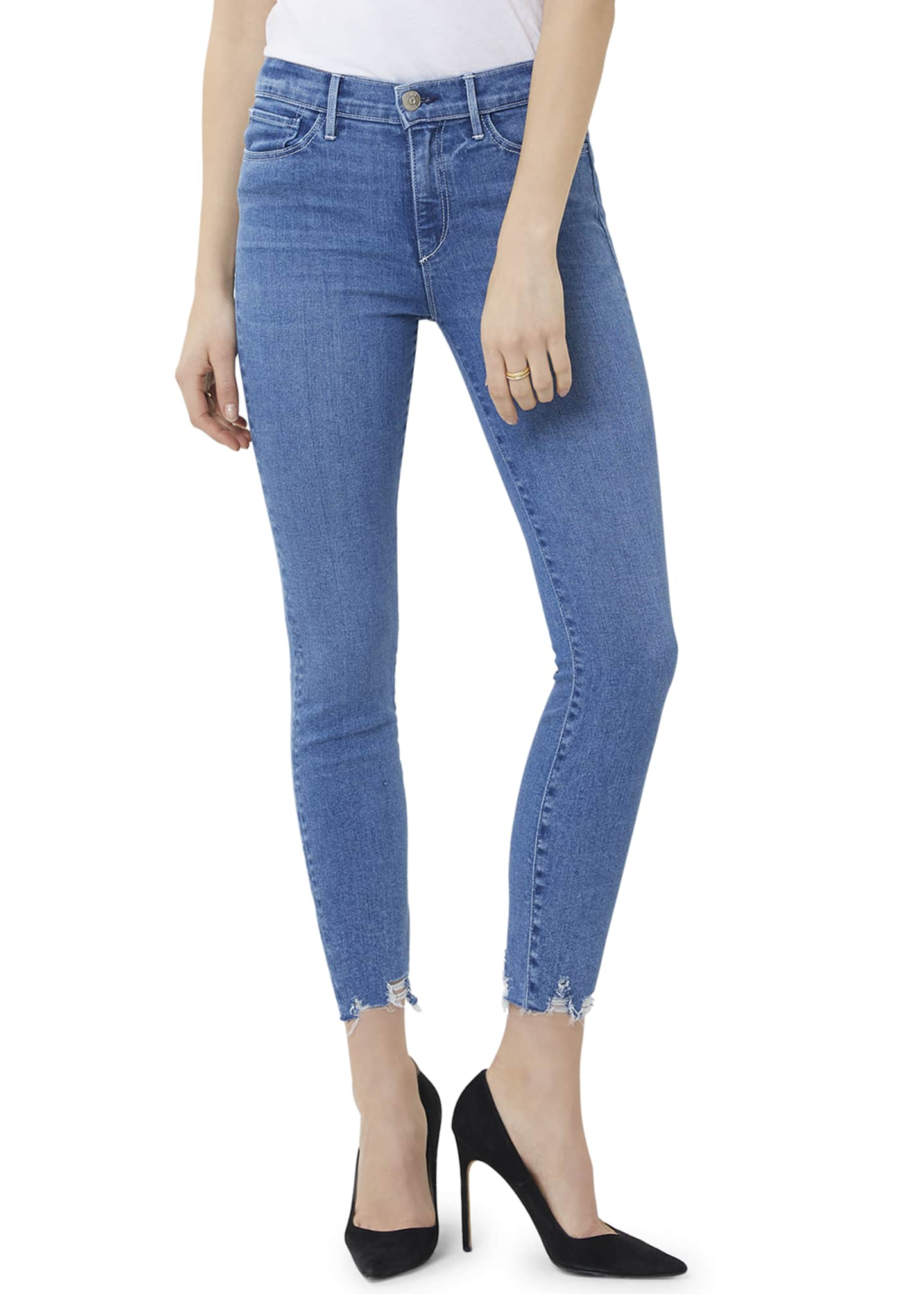 3x1 Mid-Rise Skinny Crop Jeans with Chewed Hem