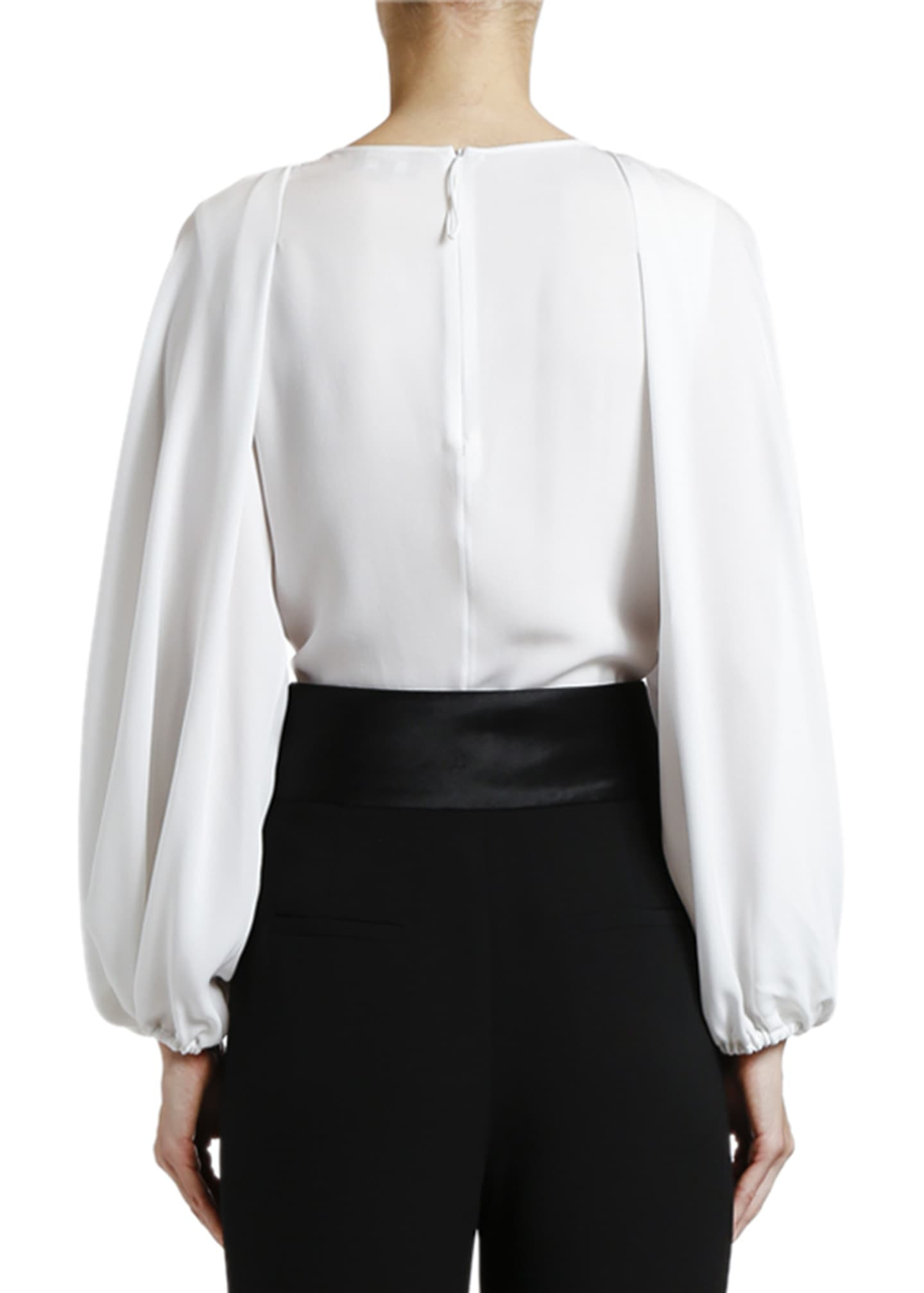 Image 2 of 2: Silk Poet-Sleeve Blouse