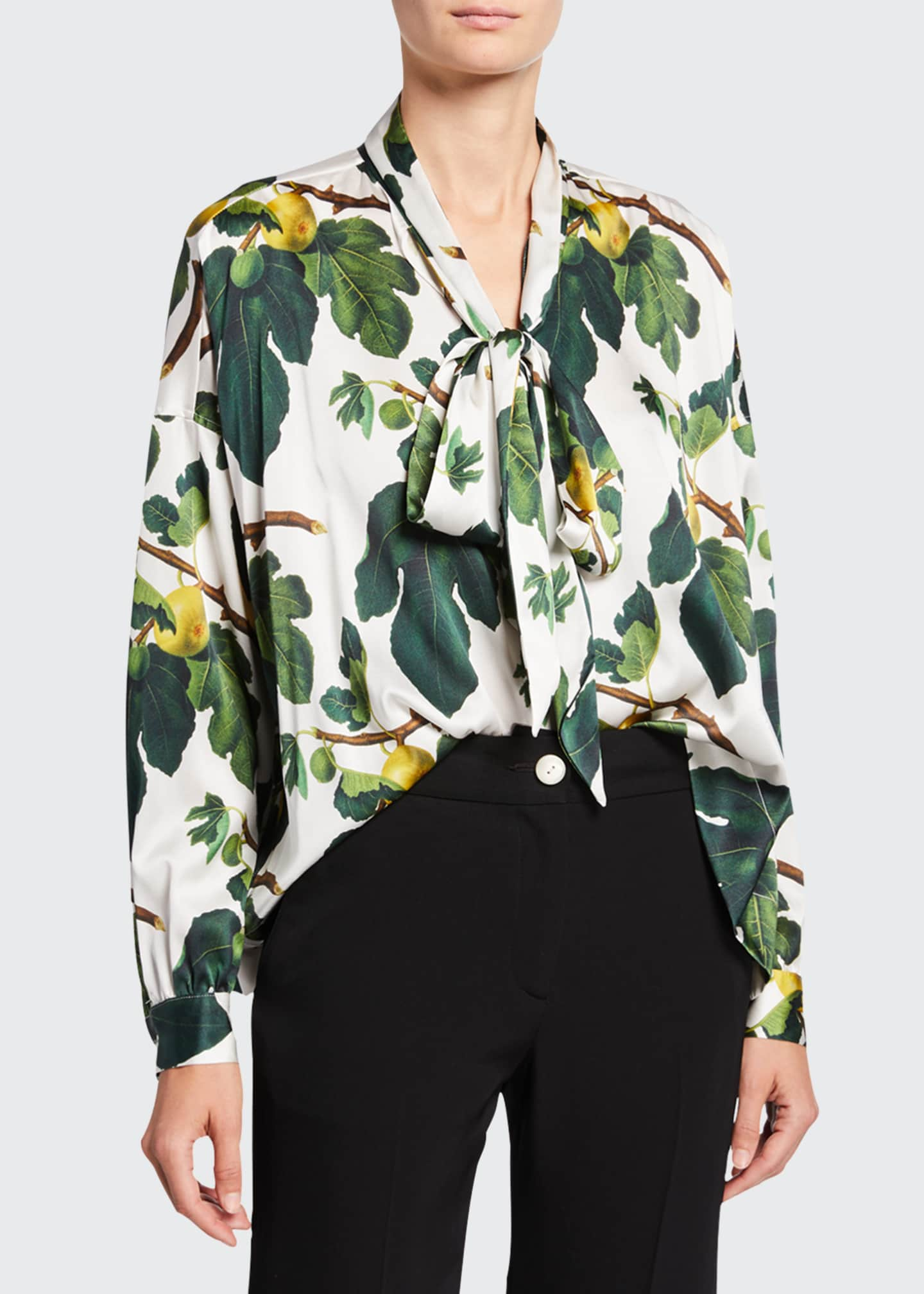 Image 1 of 2: Figgy Pudding Tie-Neck Blouse