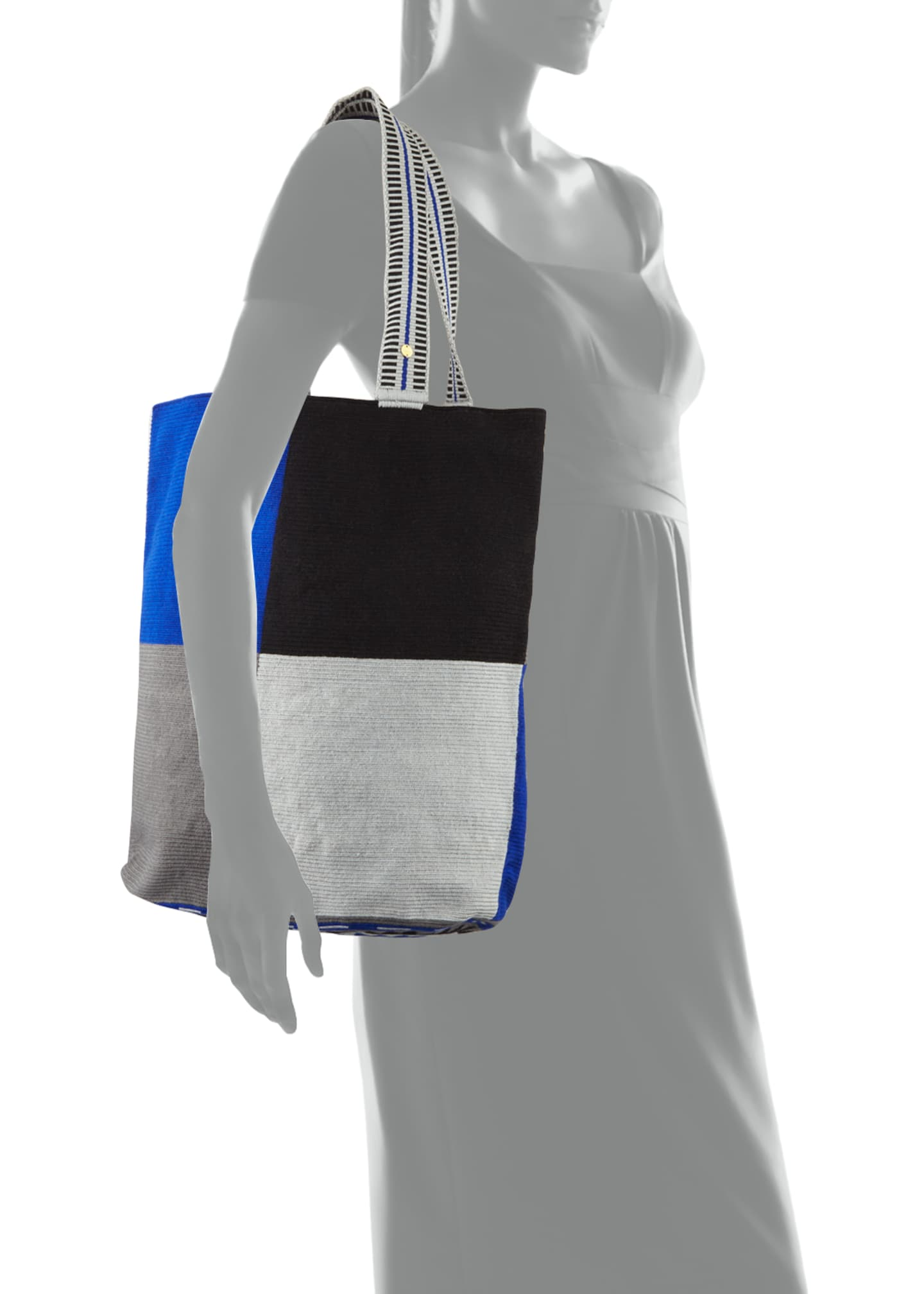 Image 4 of 4: Men's Colorblock Woven Tote Bag