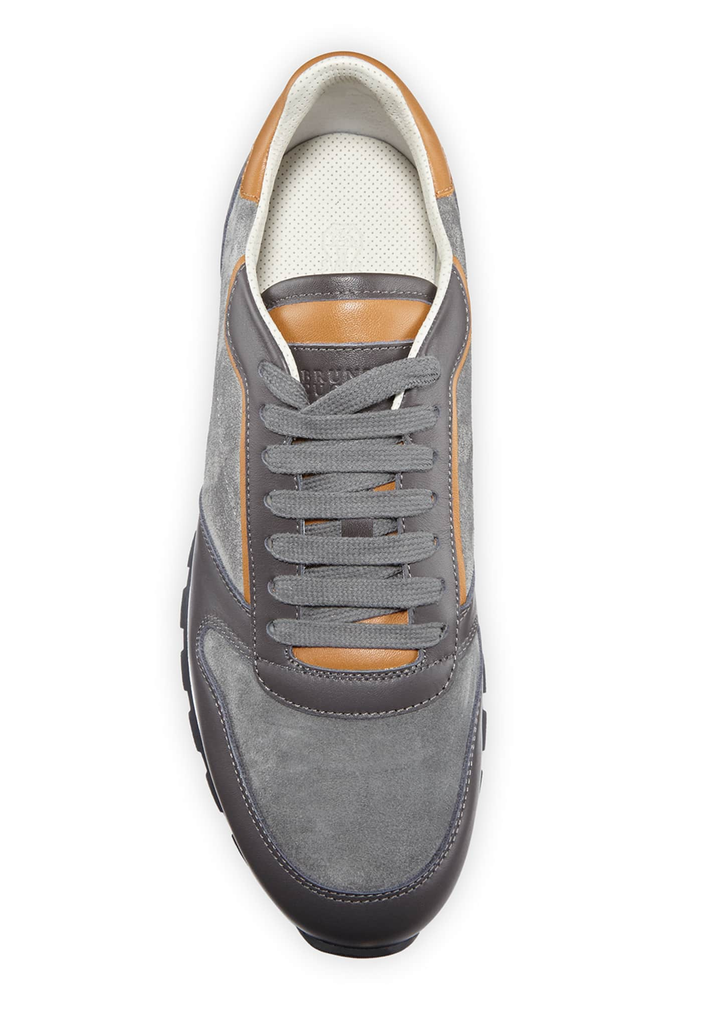 Image 2 of 3: Men's Suede & Leather Athletic Sneakers