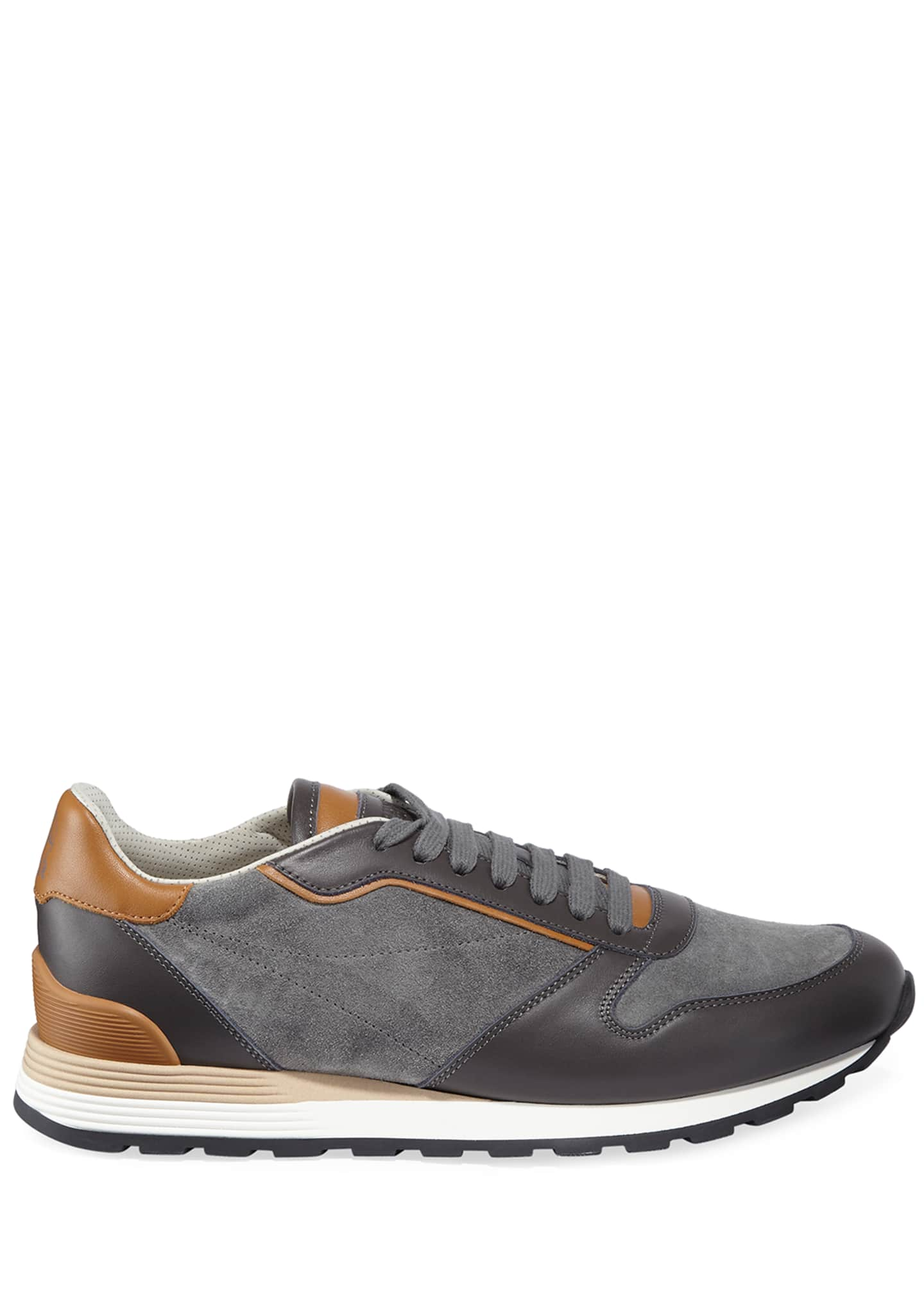 Image 3 of 3: Men's Suede & Leather Athletic Sneakers