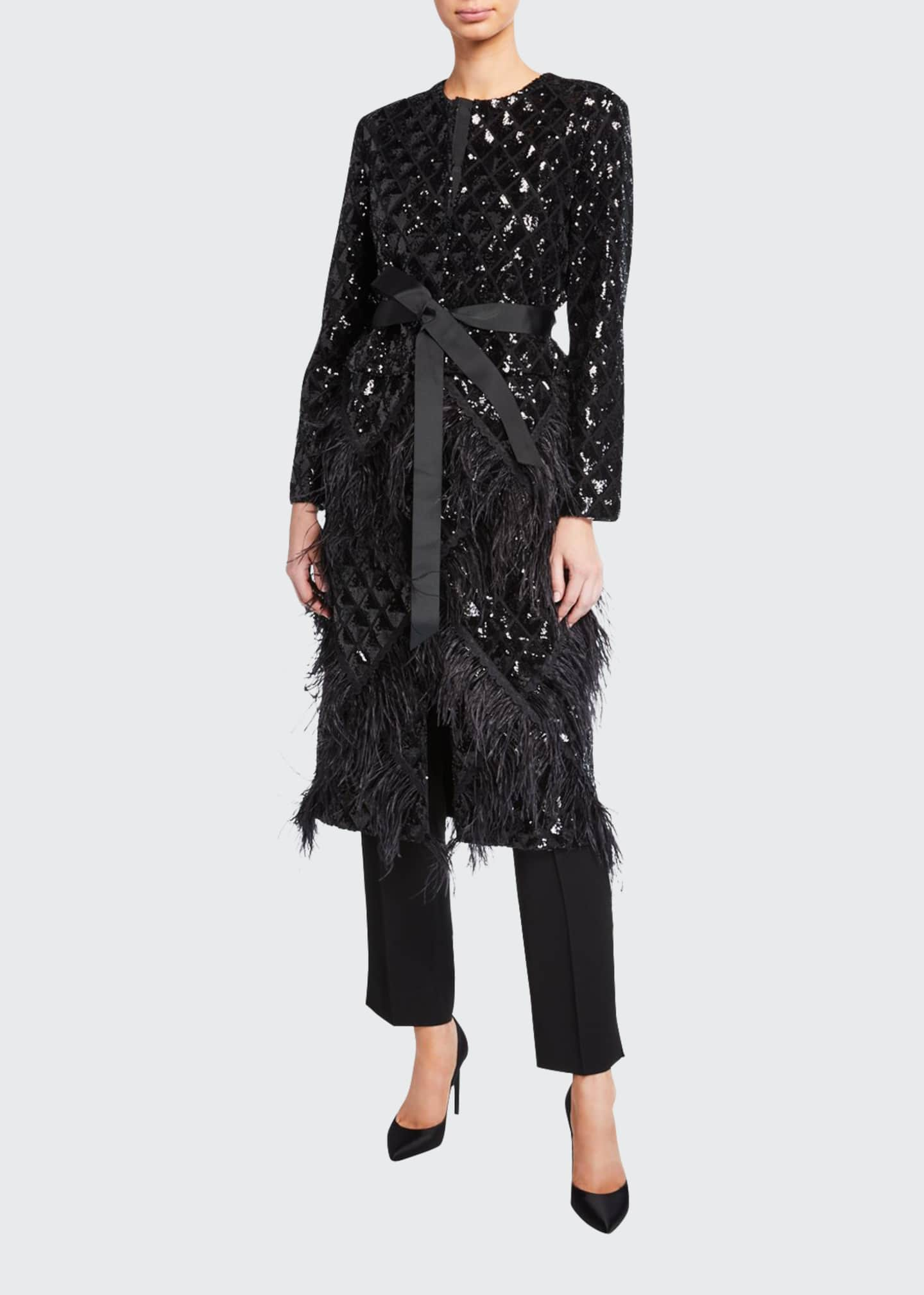 Huishan Zhang Feather Trim Sequined Quilted Coat