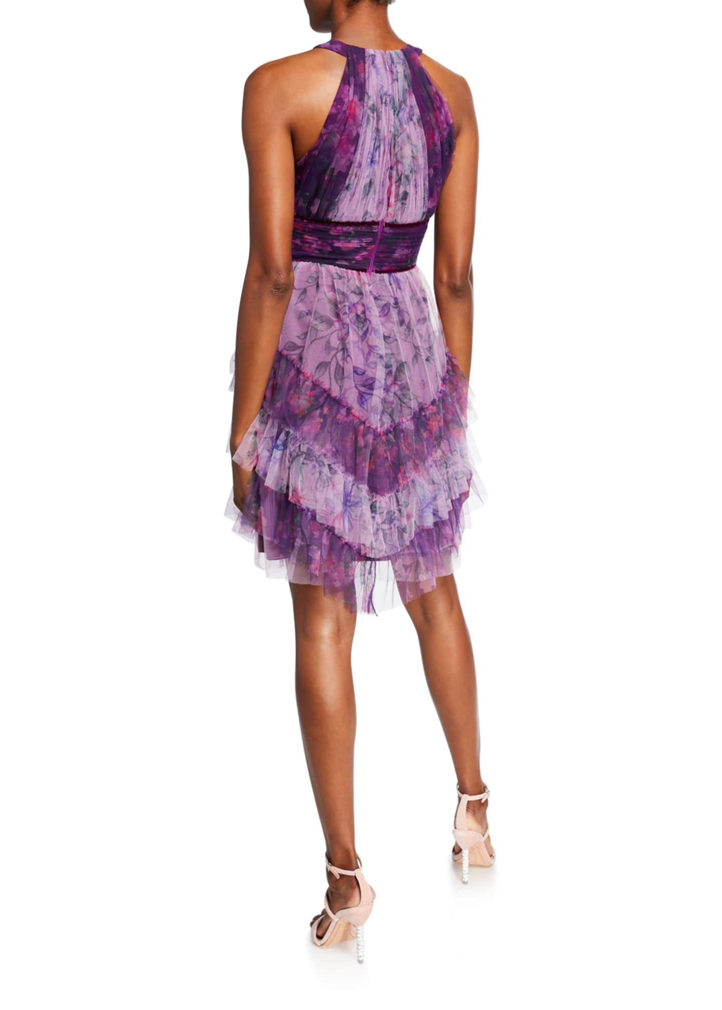 Image 2 of 2: Colorblocked Floral-Printed Tulle Dress with Ruffle Skirt Detailing