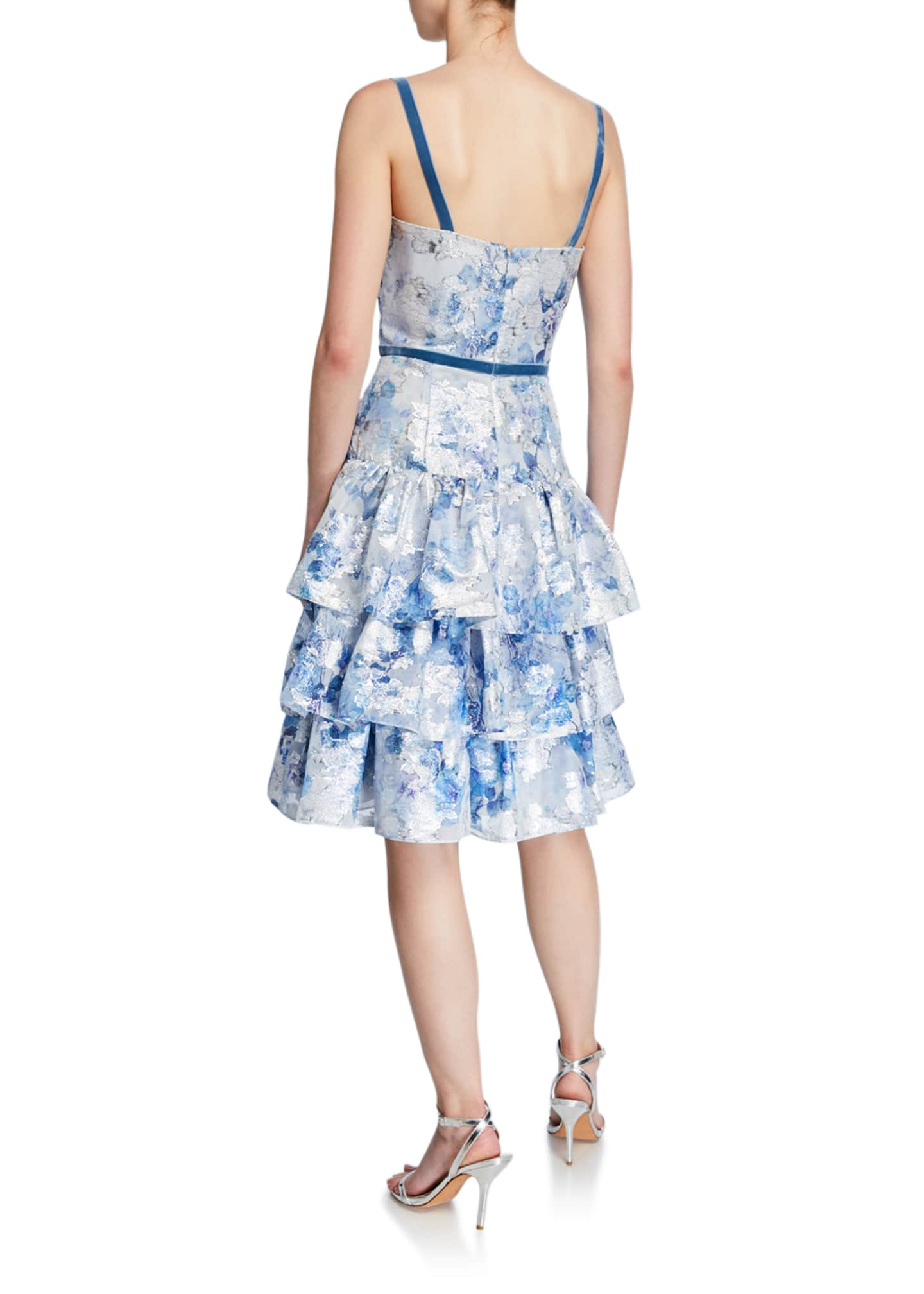 Image 2 of 2: Metallic Printed Fils Coupe Tiered Tea-Length Cocktail Dress