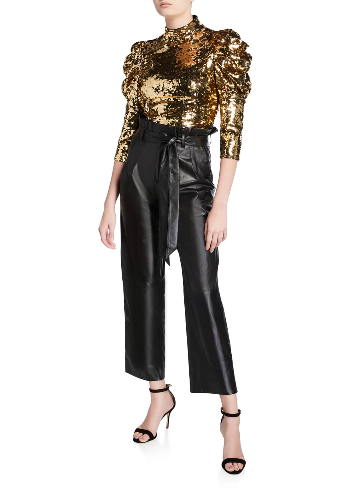 Image 3 of 3: Ryan Leather Paperbag Ankle Pants