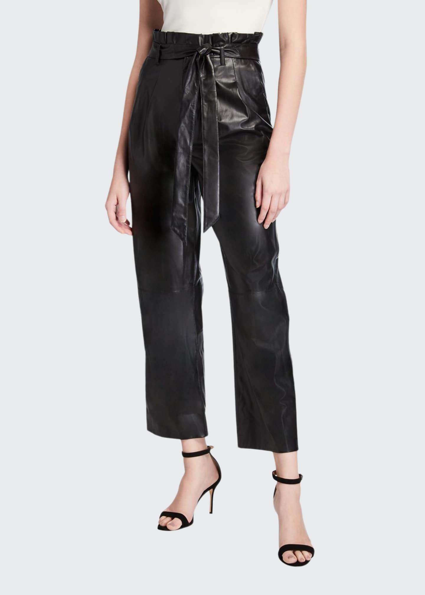 Alice + Olivia Ryan Leather Paperbag Ankle Pants