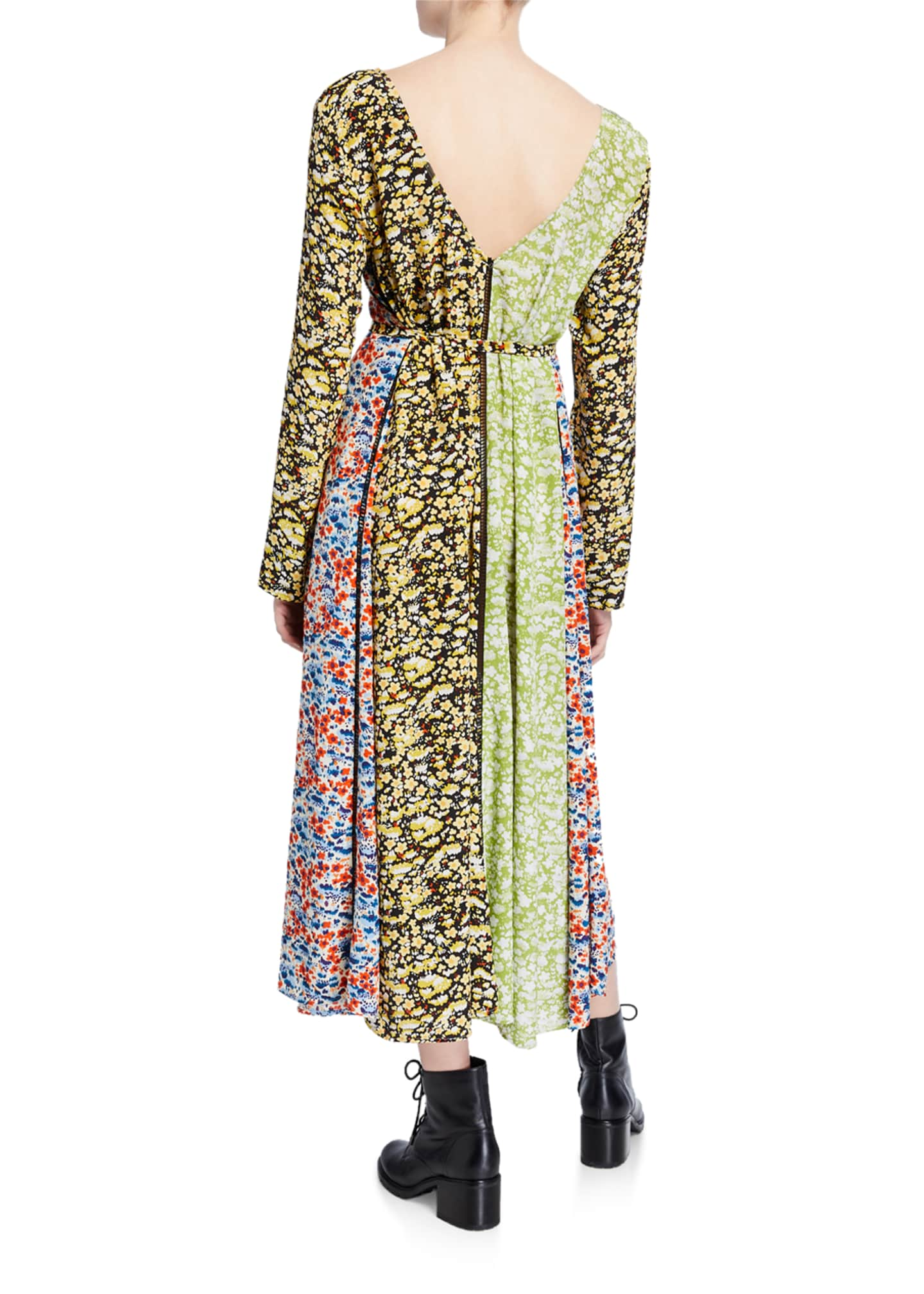 Image 2 of 2: Maca Paneled Floral Long-Sleeve Dress