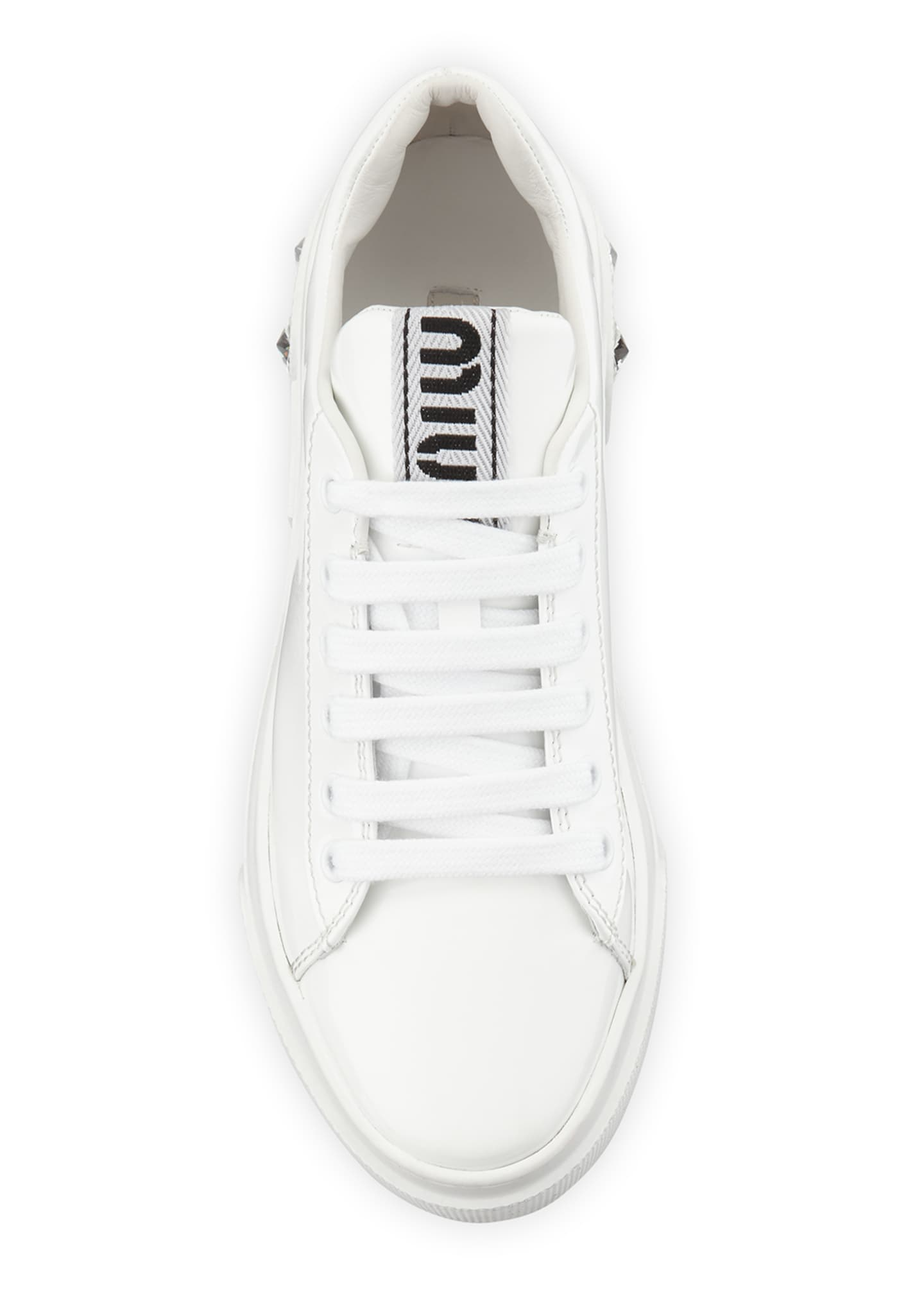 Image 3 of 4: Patent Leather Sneakers with Crystal Heel