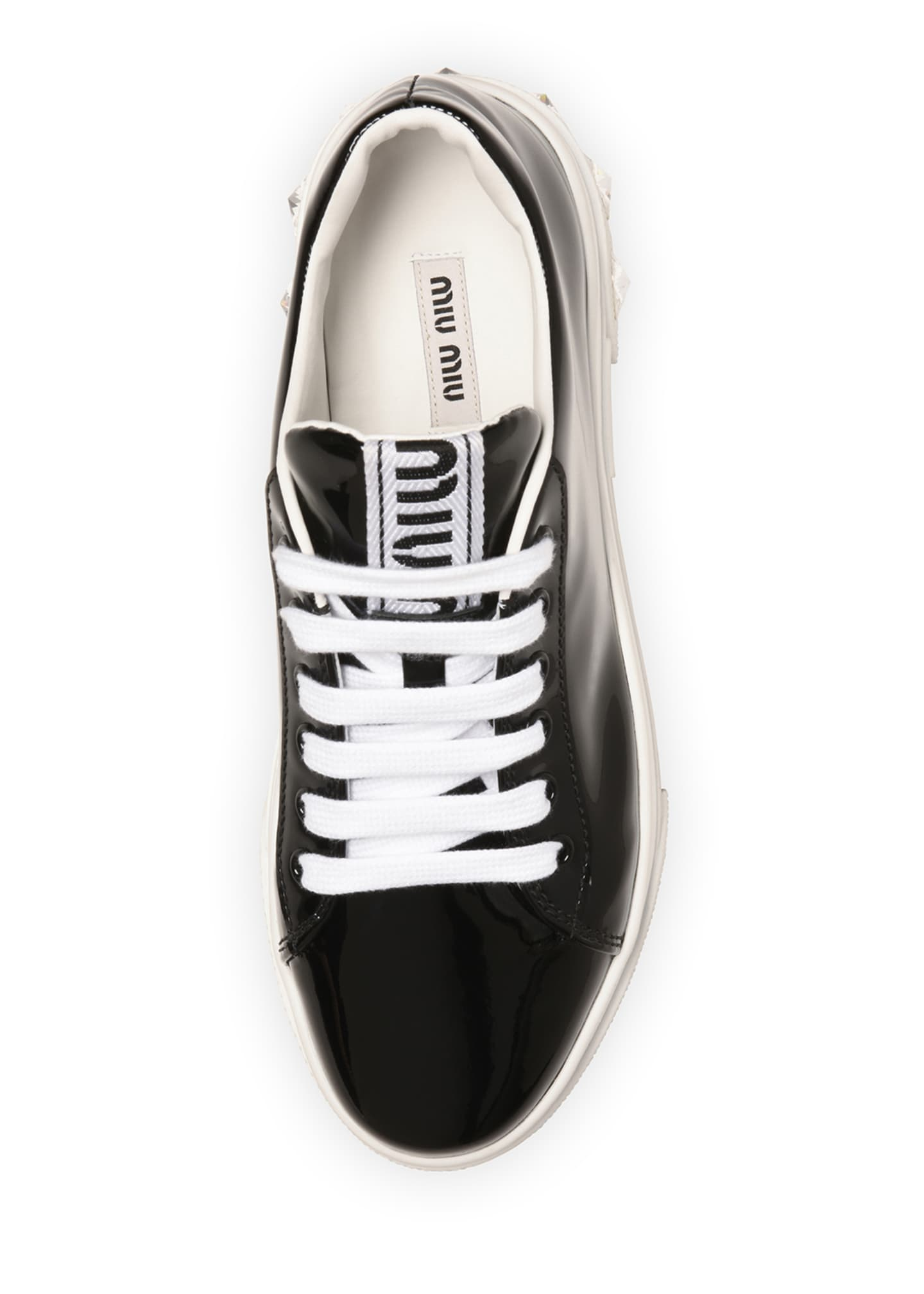 Image 4 of 4: Patent Leather Sneakers with Crystal Heel