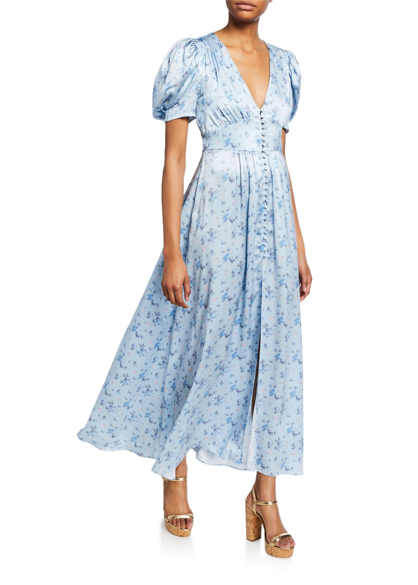 LoveShackFancy Stacy Button-Front Floral Long Dress