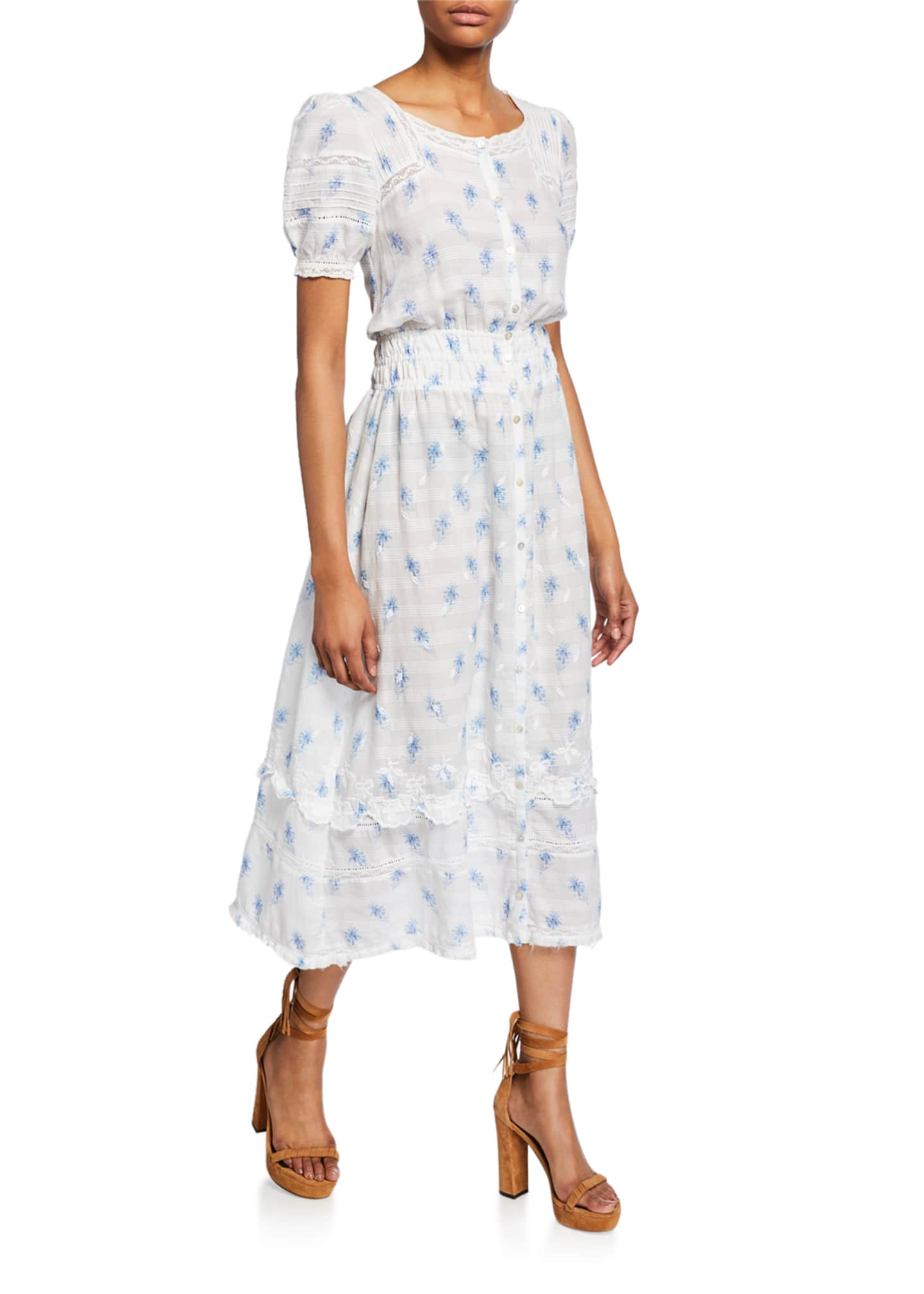 LoveShackFancy Sandy Embroidered Button-Front Midi Dress
