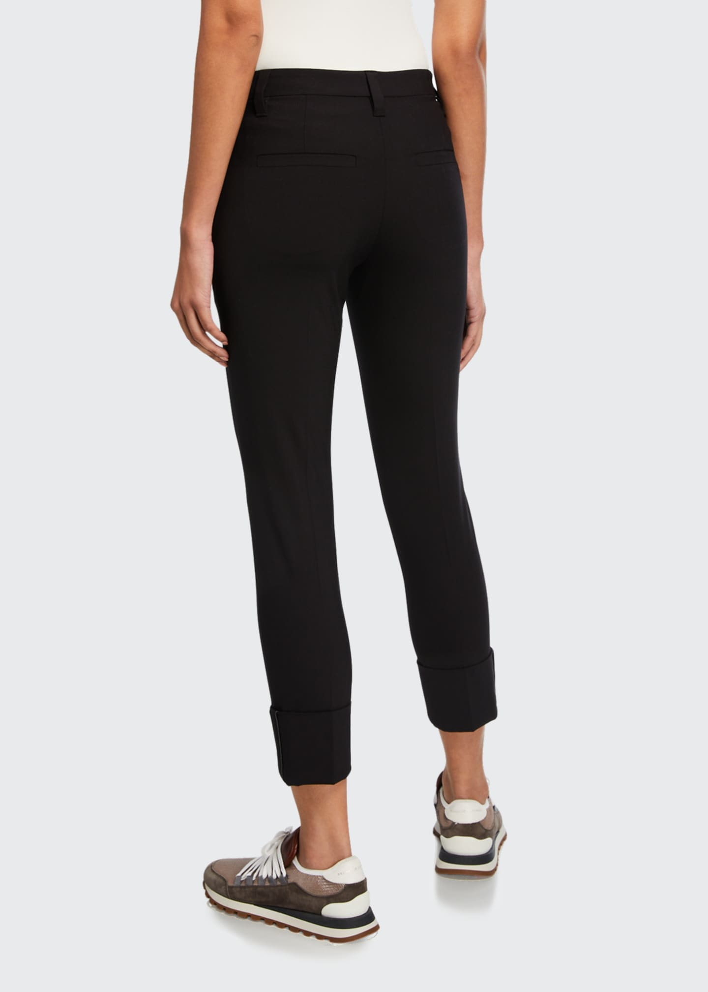Image 2 of 3: Monili-Cuffed Wool Slim-Leg Pants
