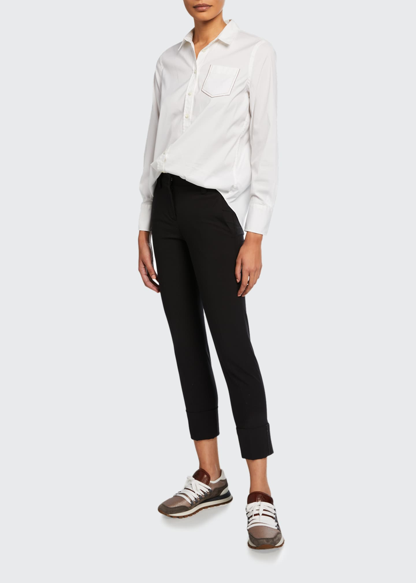 Image 1 of 3: Monili-Cuffed Wool Slim-Leg Pants