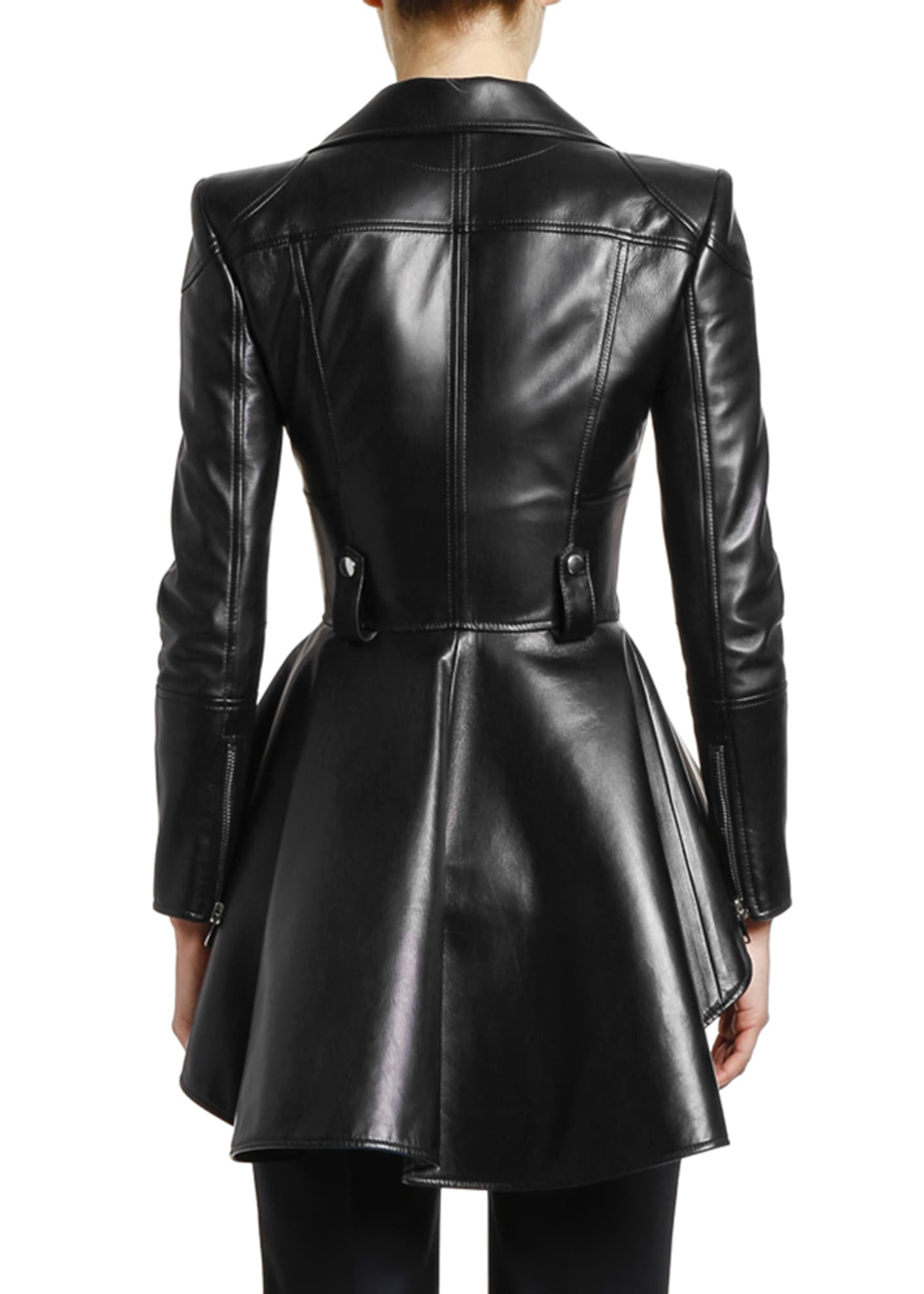 Image 2 of 3: Leather Fit & Flare Biker Jacket