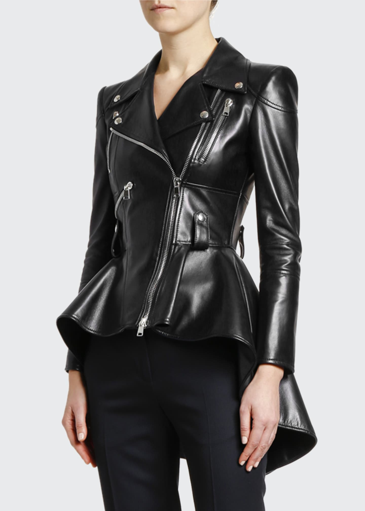 Image 3 of 3: Leather Fit & Flare Biker Jacket