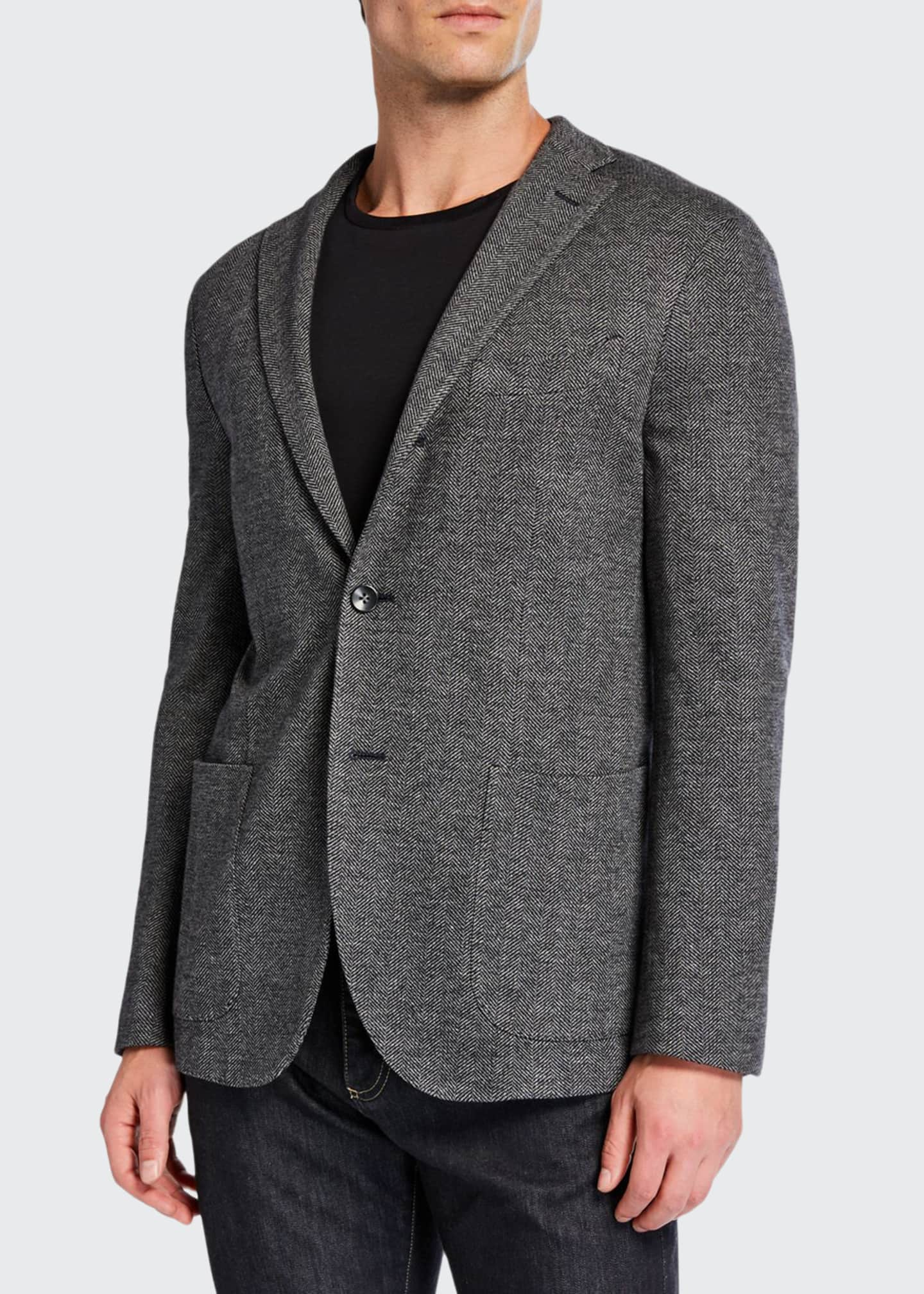 Boglioli Men's Herringbone Two-Button Jacket