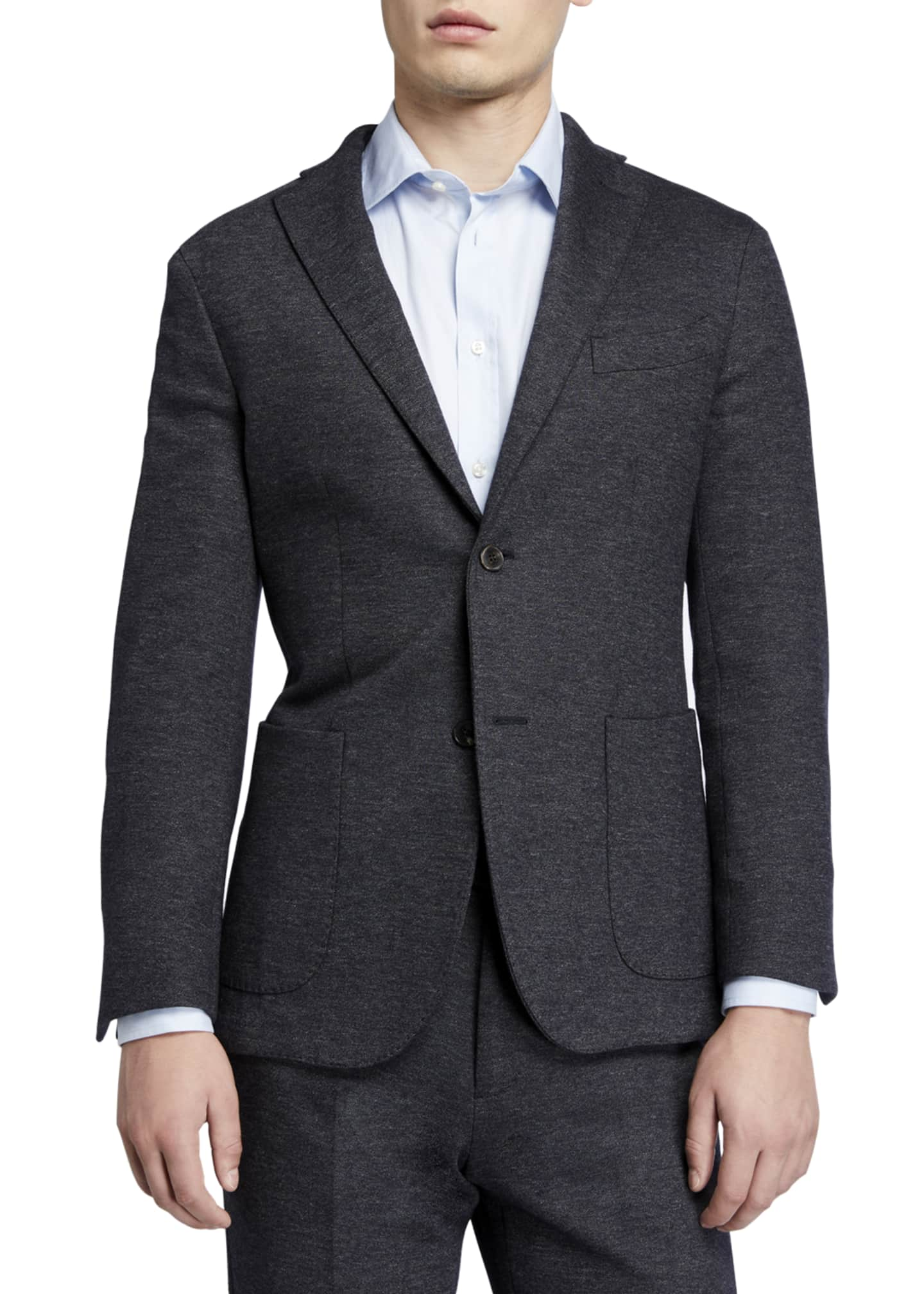 Image 1 of 4: Men's Heathered Jersey Two-Piece Suit