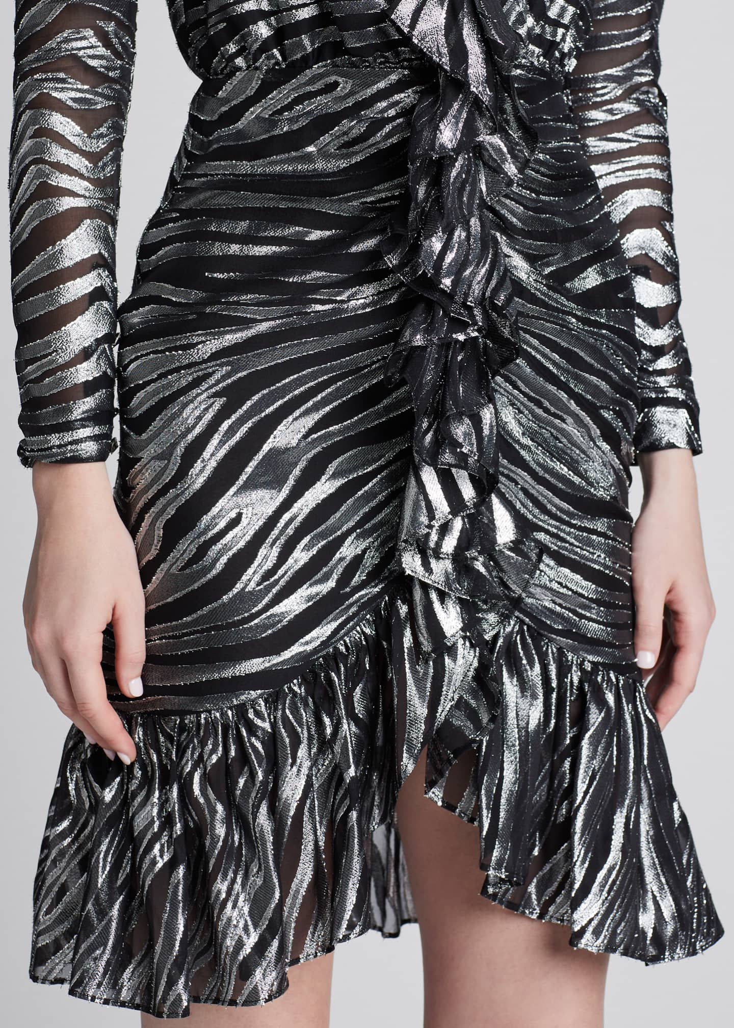 Image 4 of 5: V-Neck Zebra Lame Dress