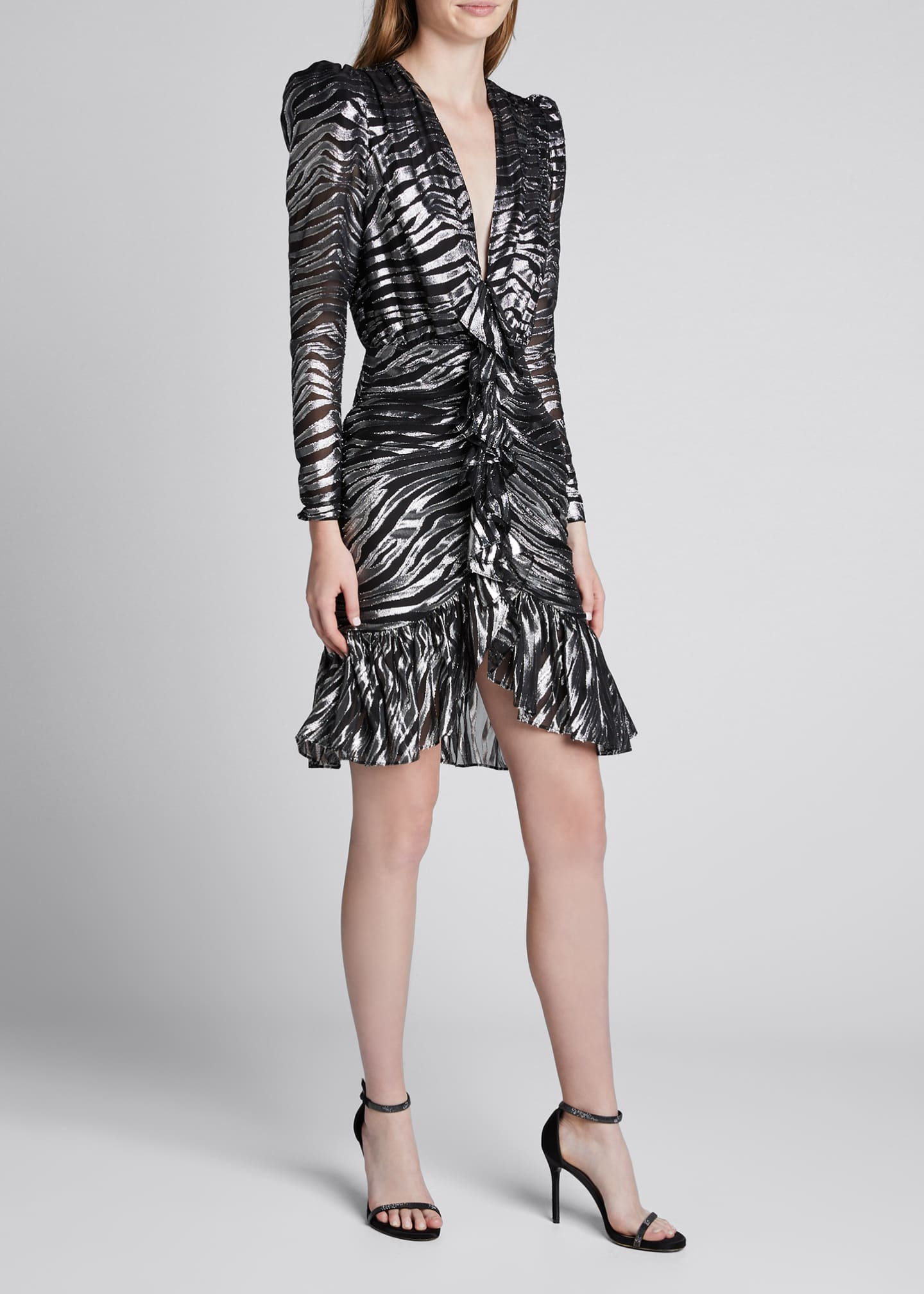 Image 1 of 5: V-Neck Zebra Lame Dress