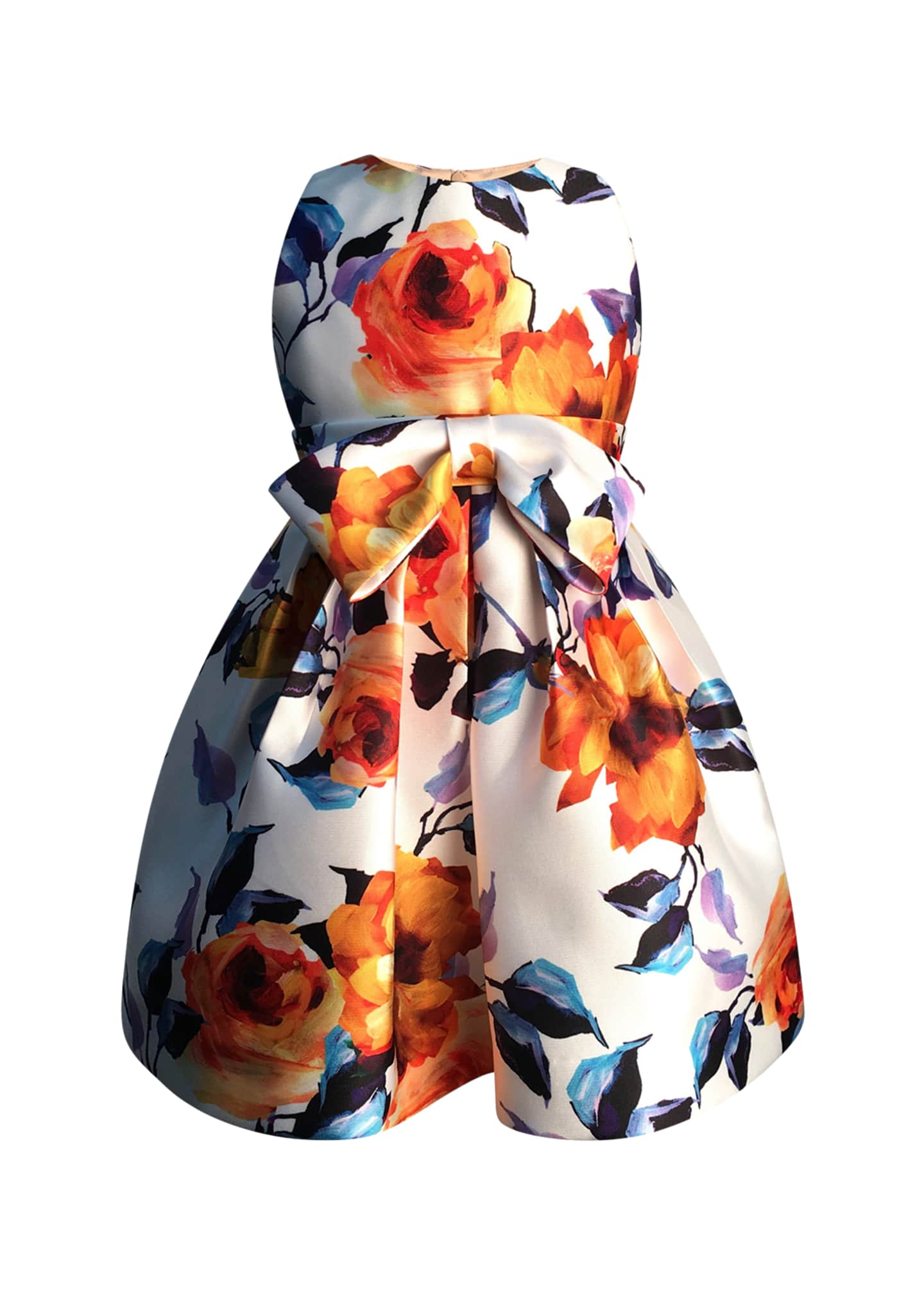 Helena Bright Botanical Print Bow Dress, Size 2-6