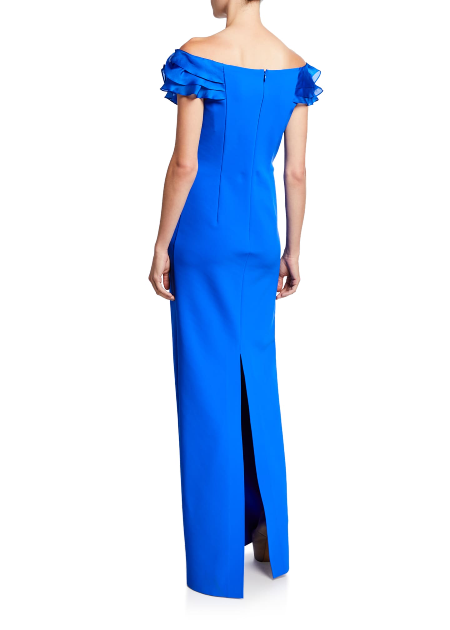 Image 2 of 2: Asymmetric Ruffle Off-Shoulder Cap-Sleeve Scuba Gown