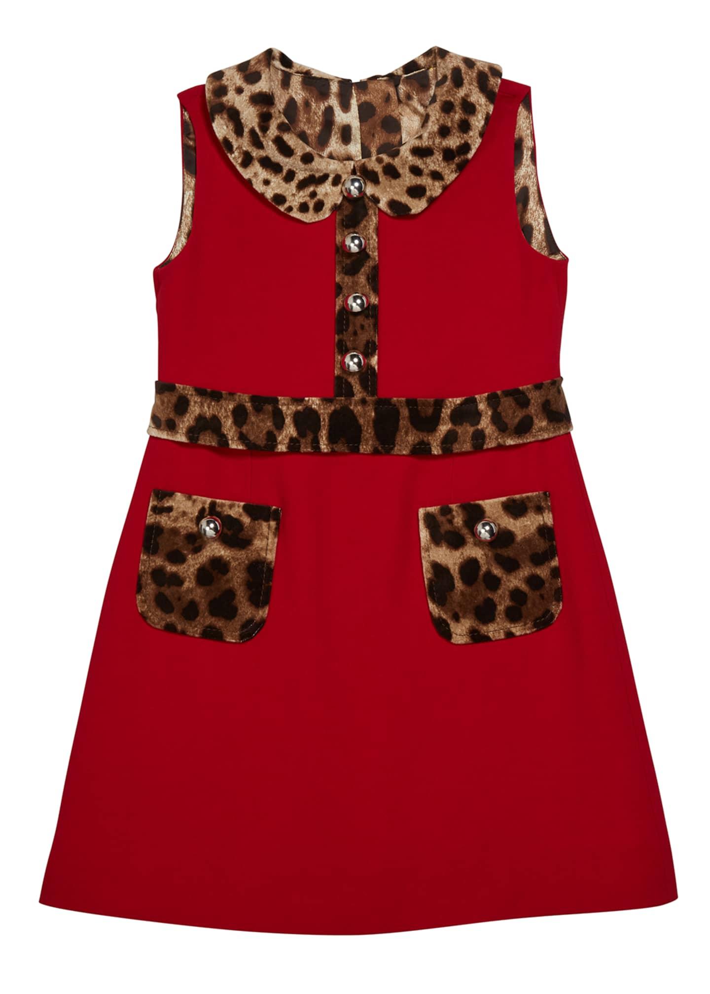 Dolce & Gabbana Girl's Sleeveless Dress w/ Animal-Print