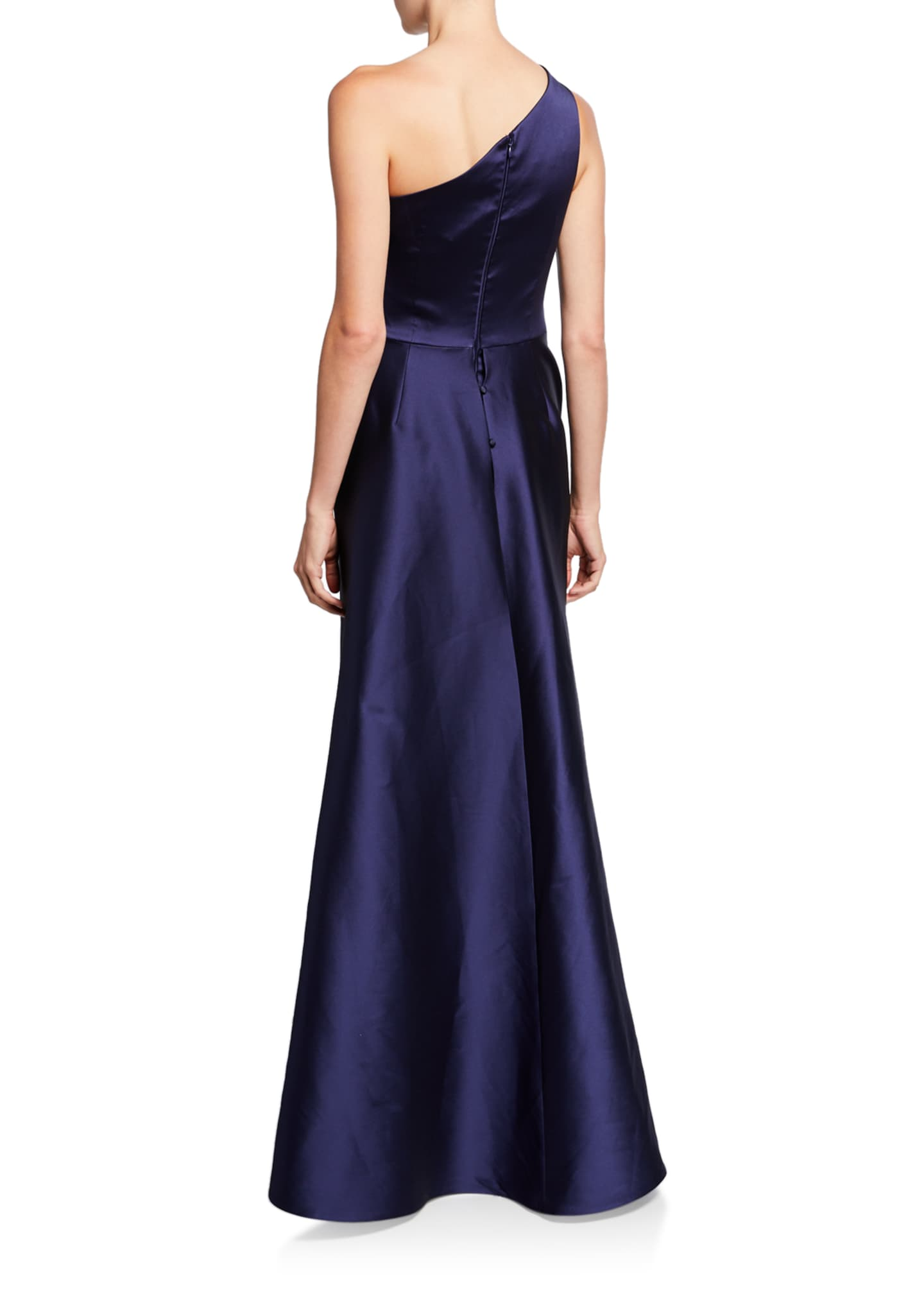 Image 2 of 2: One-Shoulder Asymmetric Gazaar A-Line Gown
