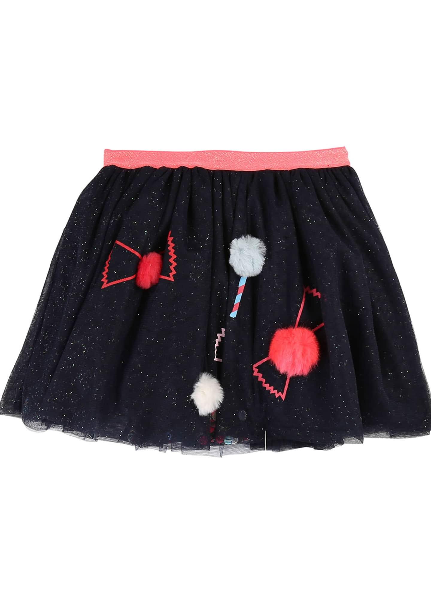 Billieblush Girl's Glitter Tulle Skirt w/ Candy Pompom