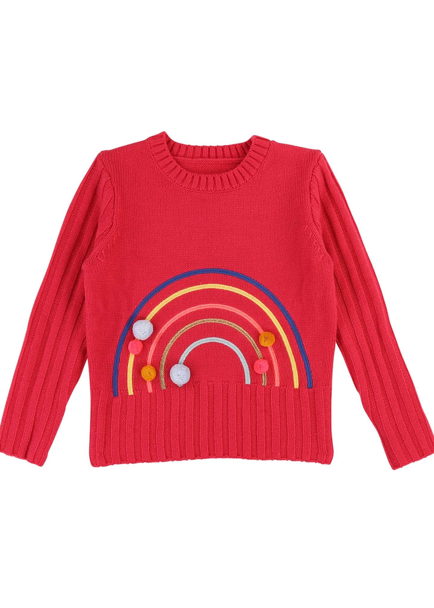 Billieblush Rainbow Sweater with Pompoms, Size 4-12