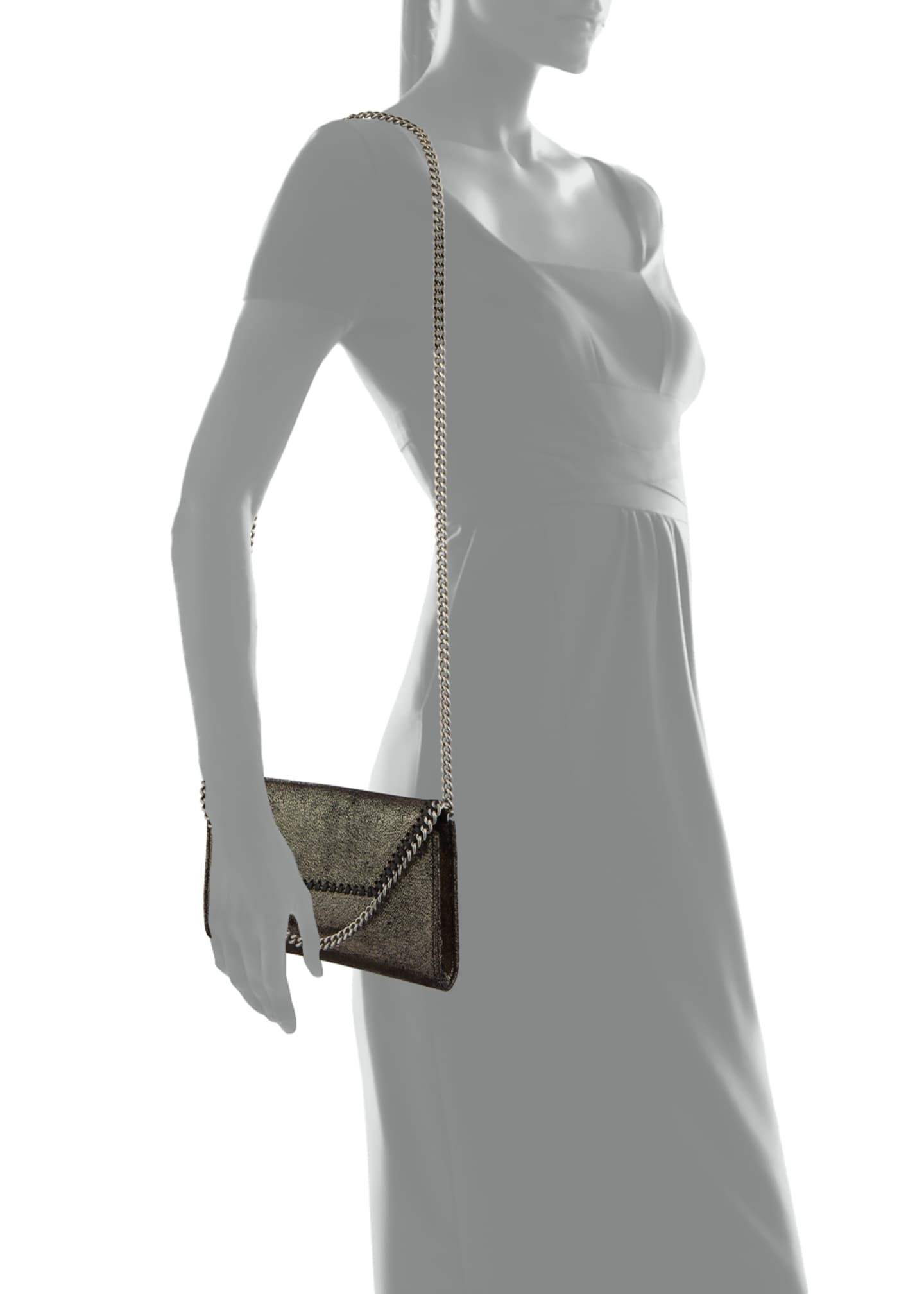Image 3 of 3: Falabella Mini Shiny Chamois Wallet on Chain