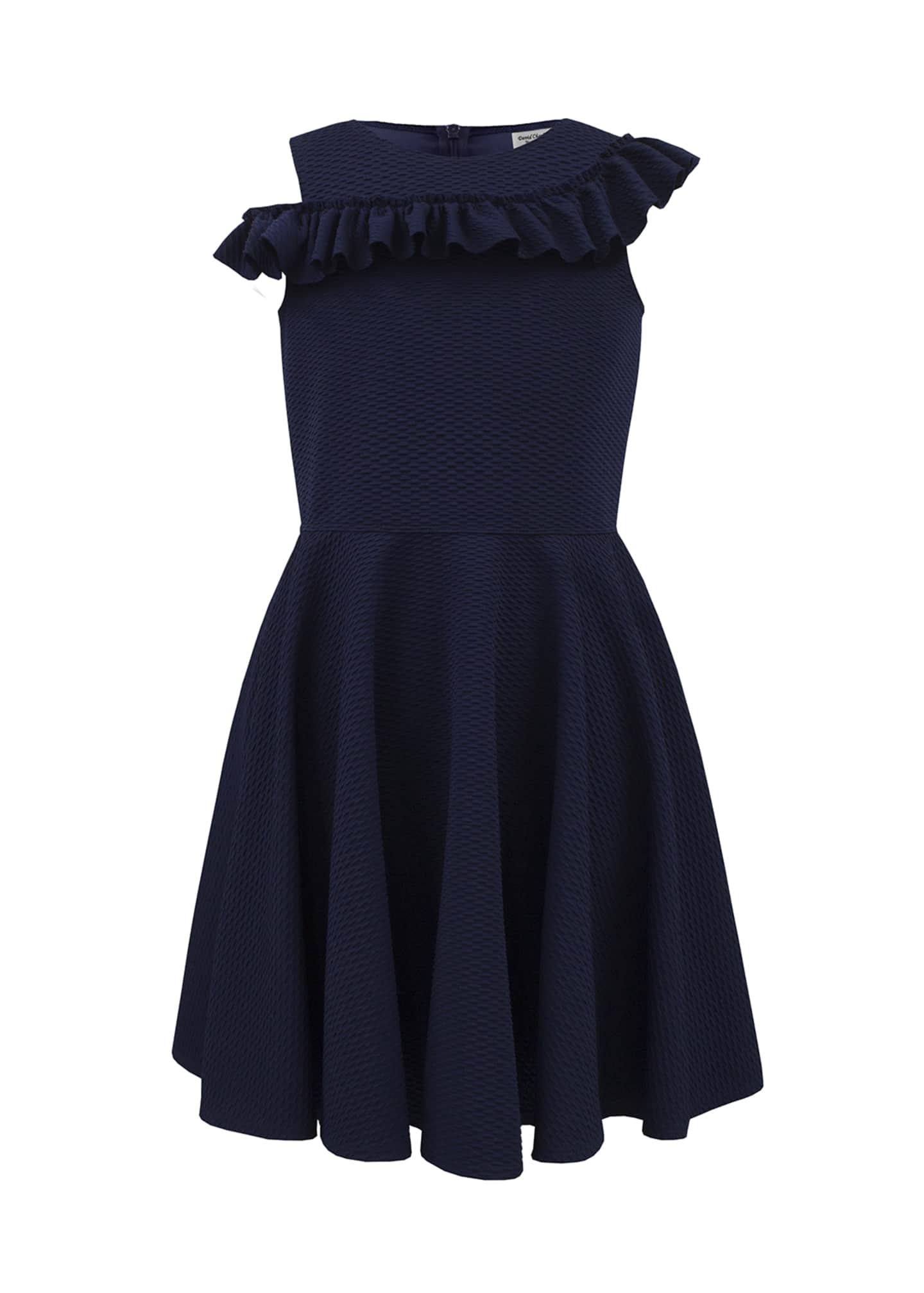 David Charles Asymmetric Ruffle One-Shoulder Knit Dress, Size