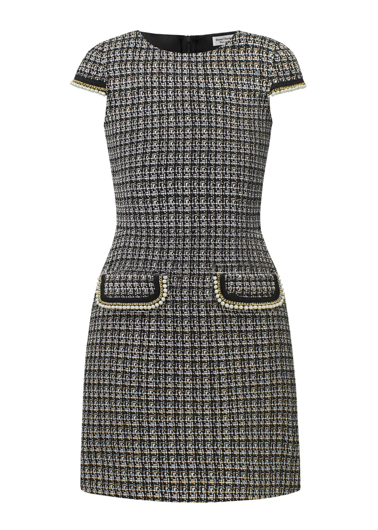 David Charles Tweed Faux Pearl Trim Dress, Size