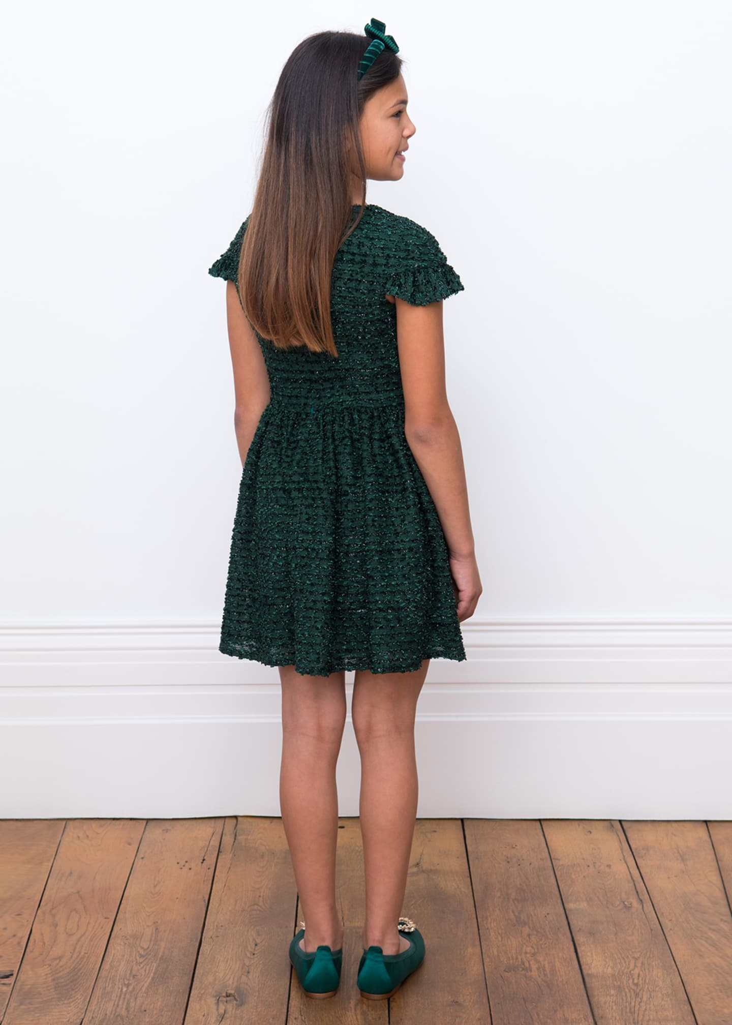 Image 3 of 4: Boucle Sparkle Ruffle Cuff Dress, Size 10-16