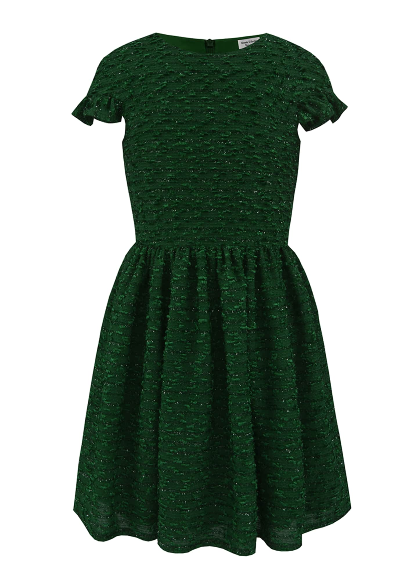 Image 1 of 4: Boucle Sparkle Ruffle Cuff Dress, Size 10-16