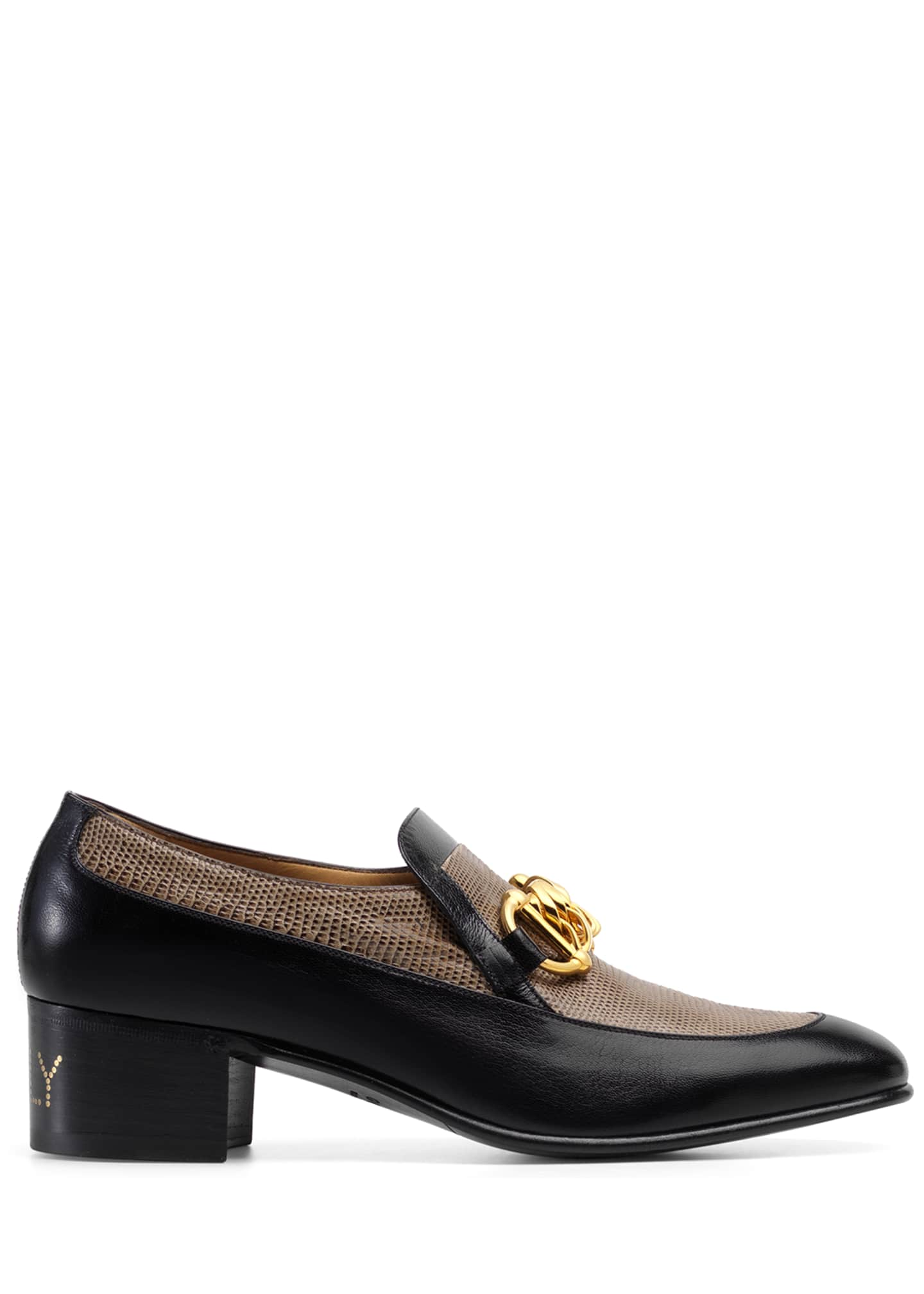 Image 2 of 4: Men's Ebal Horsebit Leather & Lizard Loafers
