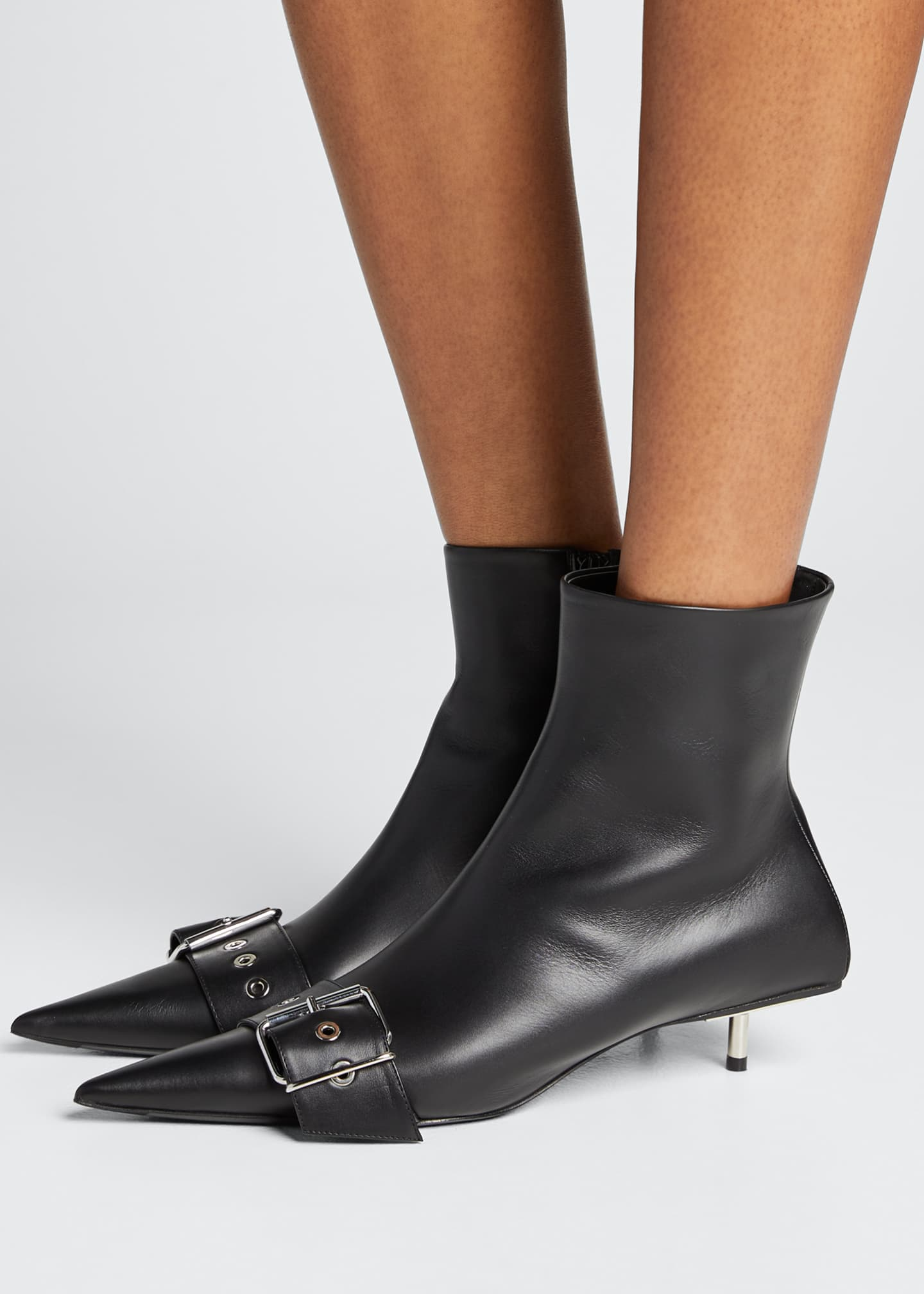 Image 2 of 5: Belted Low-Heel Leather Booties
