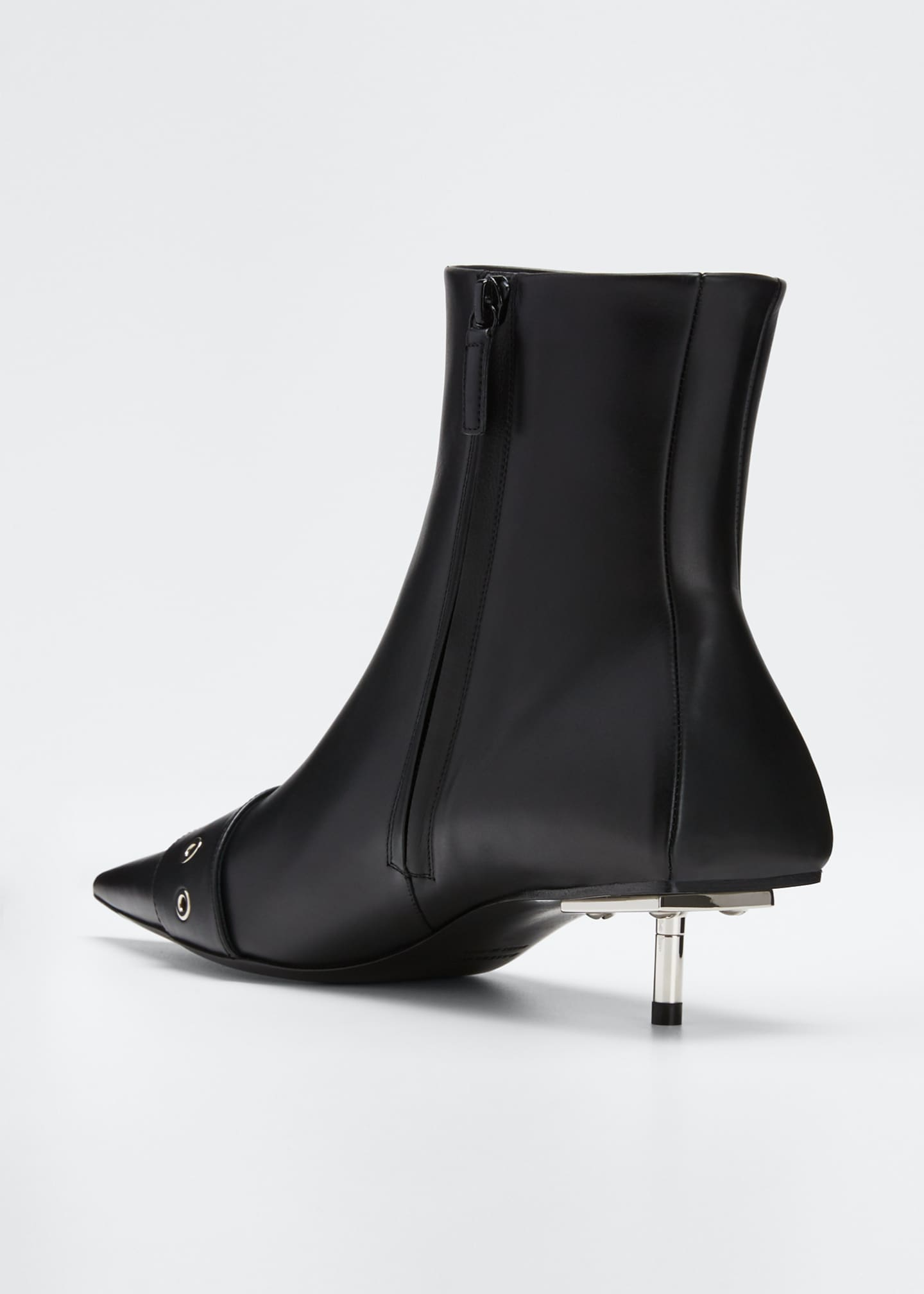 Image 4 of 5: Belted Low-Heel Leather Booties